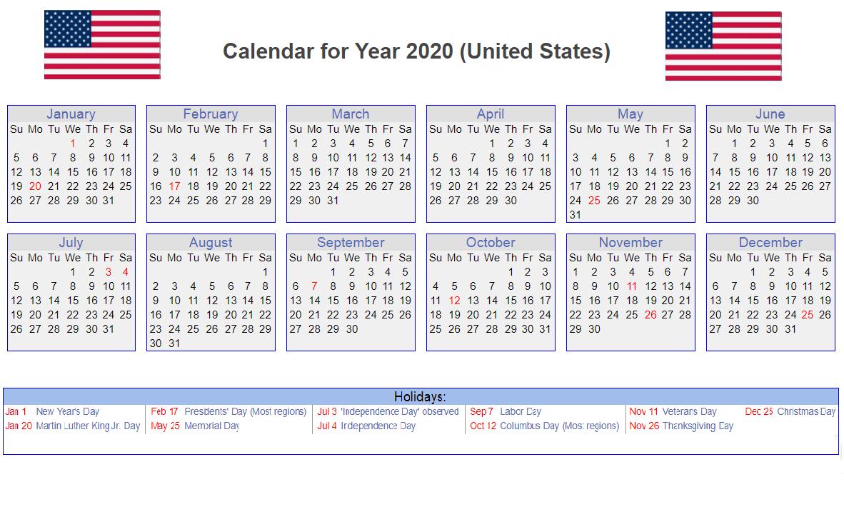 Us 2020 Holidays Calendar | Calendar 2020, Monthly Calendar