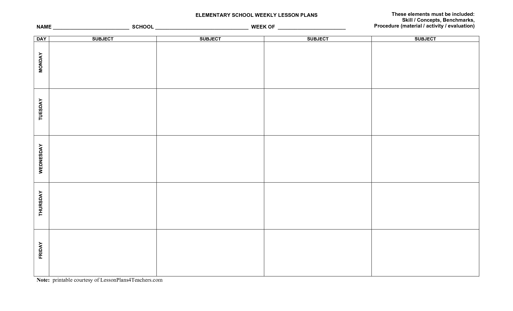 Use This Blank 8-Part Lesson Plan Template Every Time That