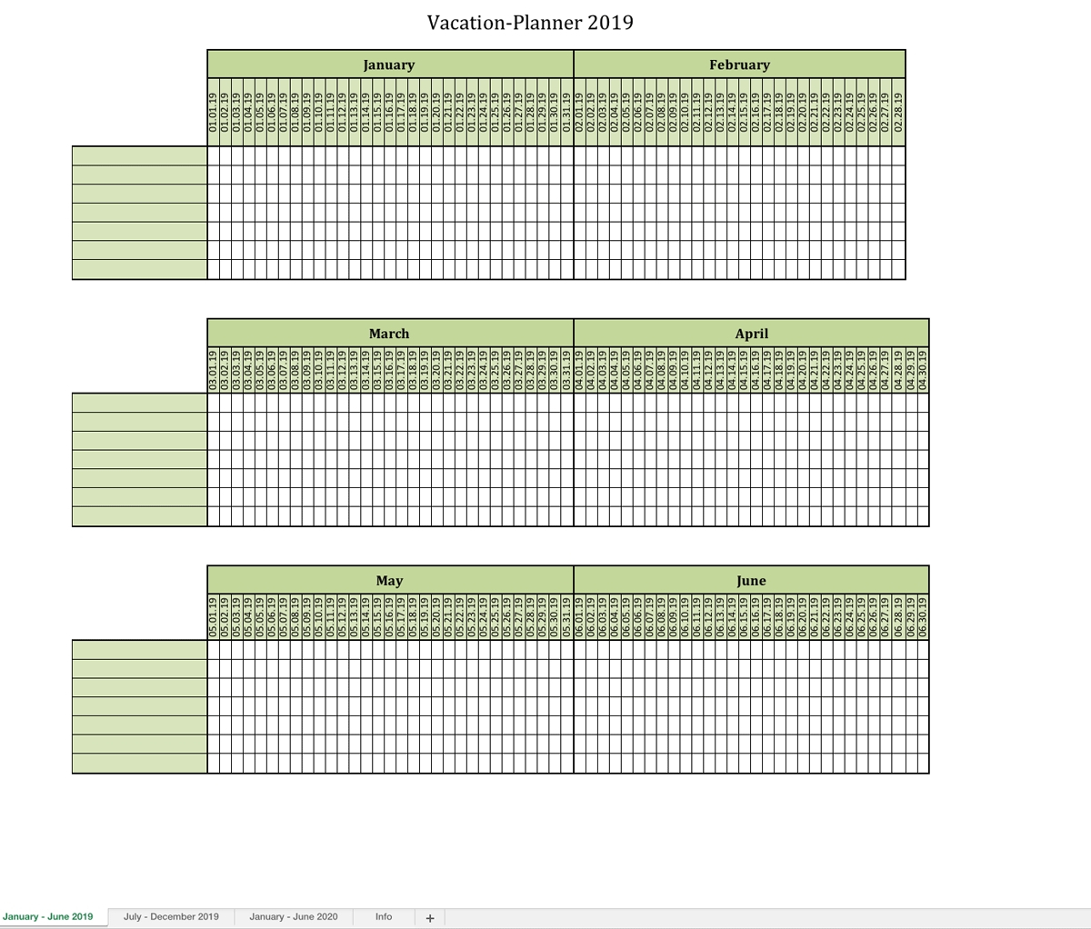 Vacation-Planner 2019-6 Month Planner Printable – Monthly