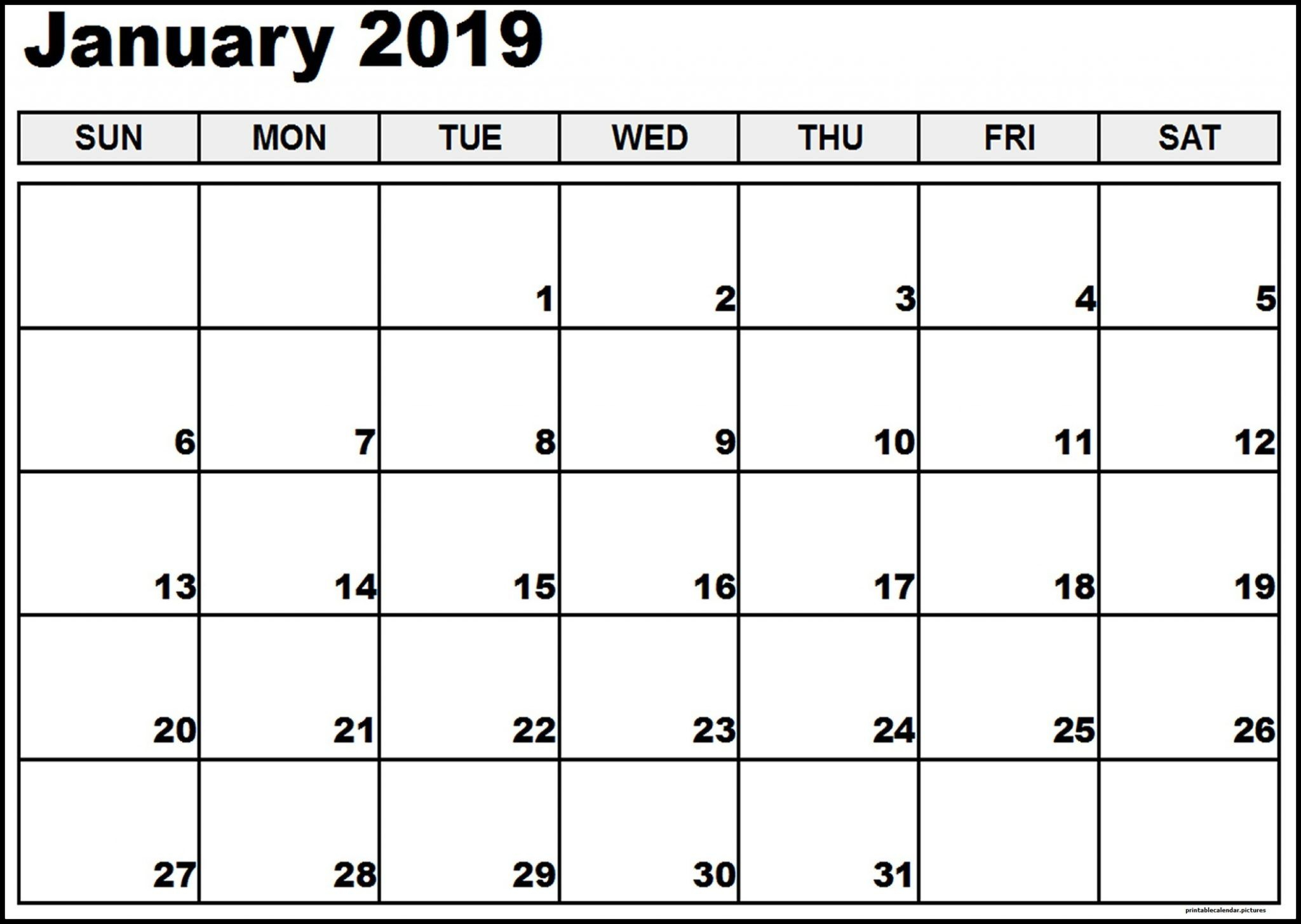Vertex January Calendar 2019 Printable | Blank Calendar