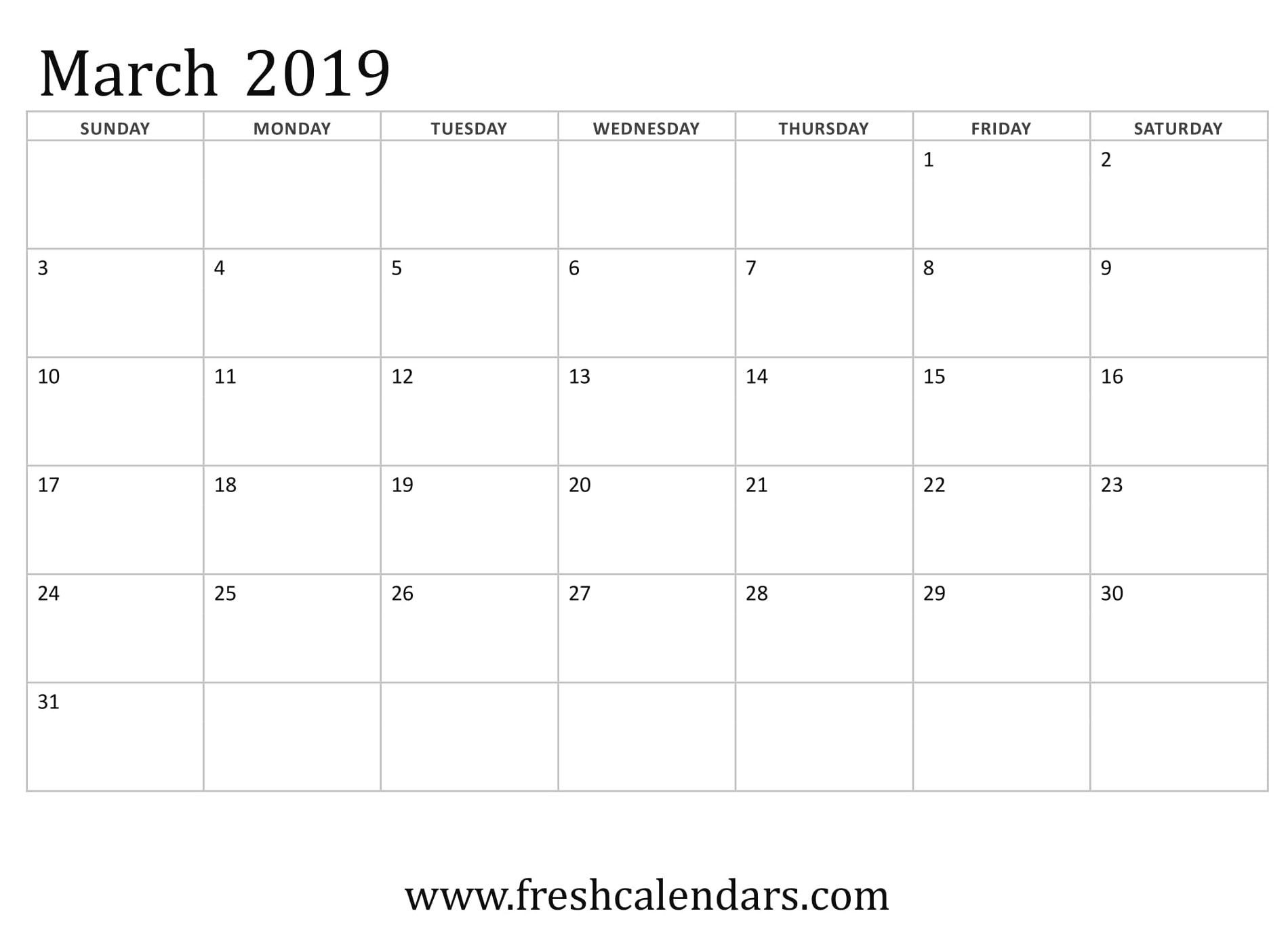 Vertex March Calendar 2019 Printable | Calendar 2019