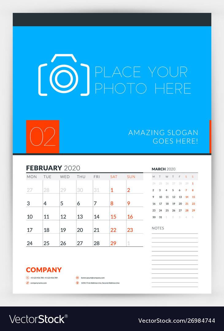 Wall Calendar Planner Template For February 2020