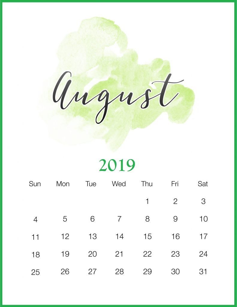 Watercolor 2019 August Printable Calendar | Календарь Для