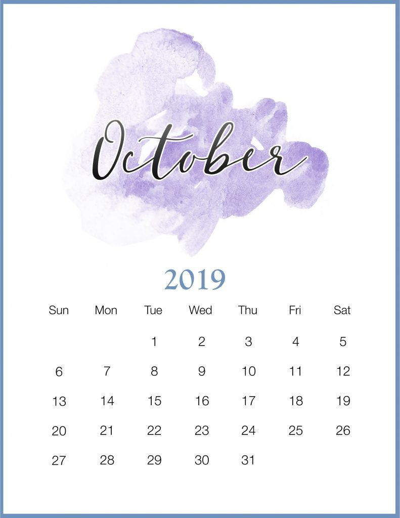 Watercolor 2019 October Printable Calendar | Печатные