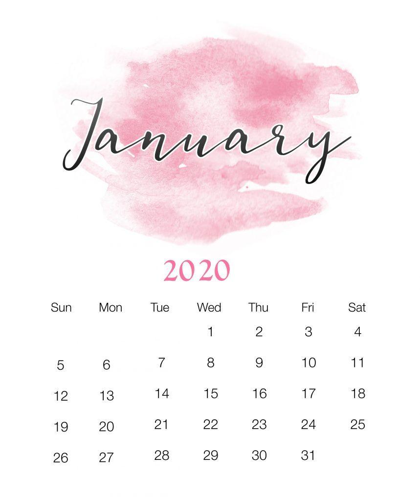 Watercolor January 2020 Wall Calendar | Печатные Календари