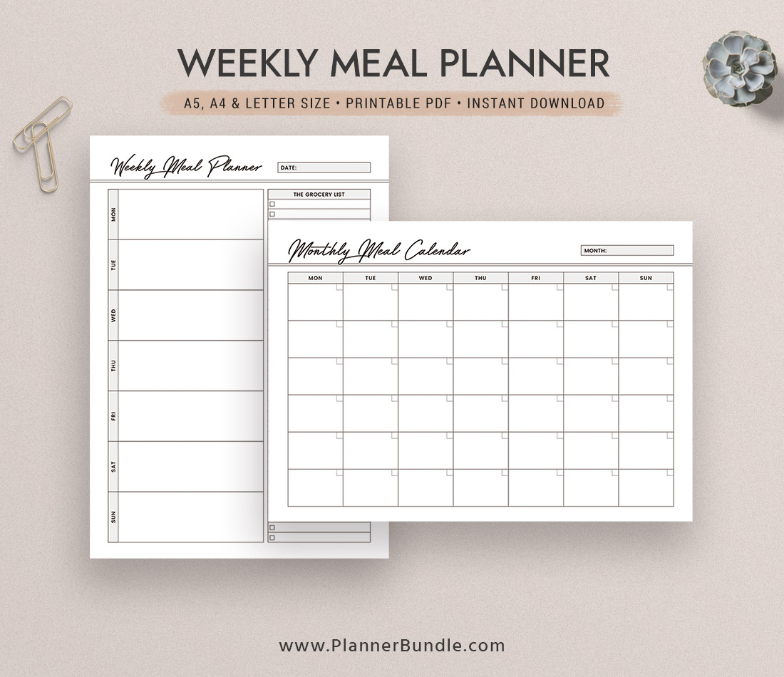 Weekly Meal Planner Inserts, 2020 Menu Planner, Monthly Meal Calendar, A5,  A4, Letter Size, Planner Pages, Planner Design, Printable Planner Inserts