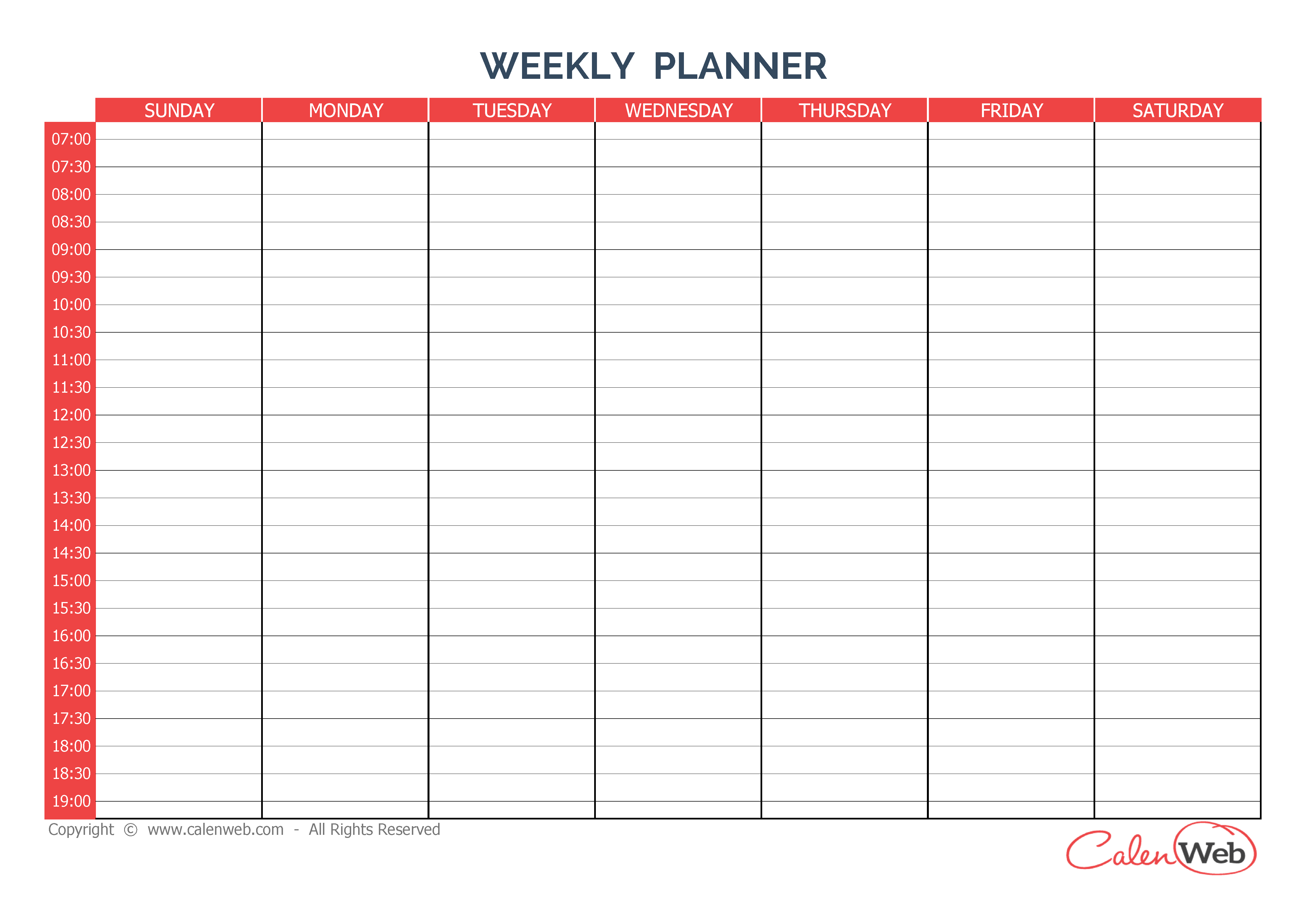 Weekly Planner 7 Days - First Day: Sunday A Week Of 7 Days