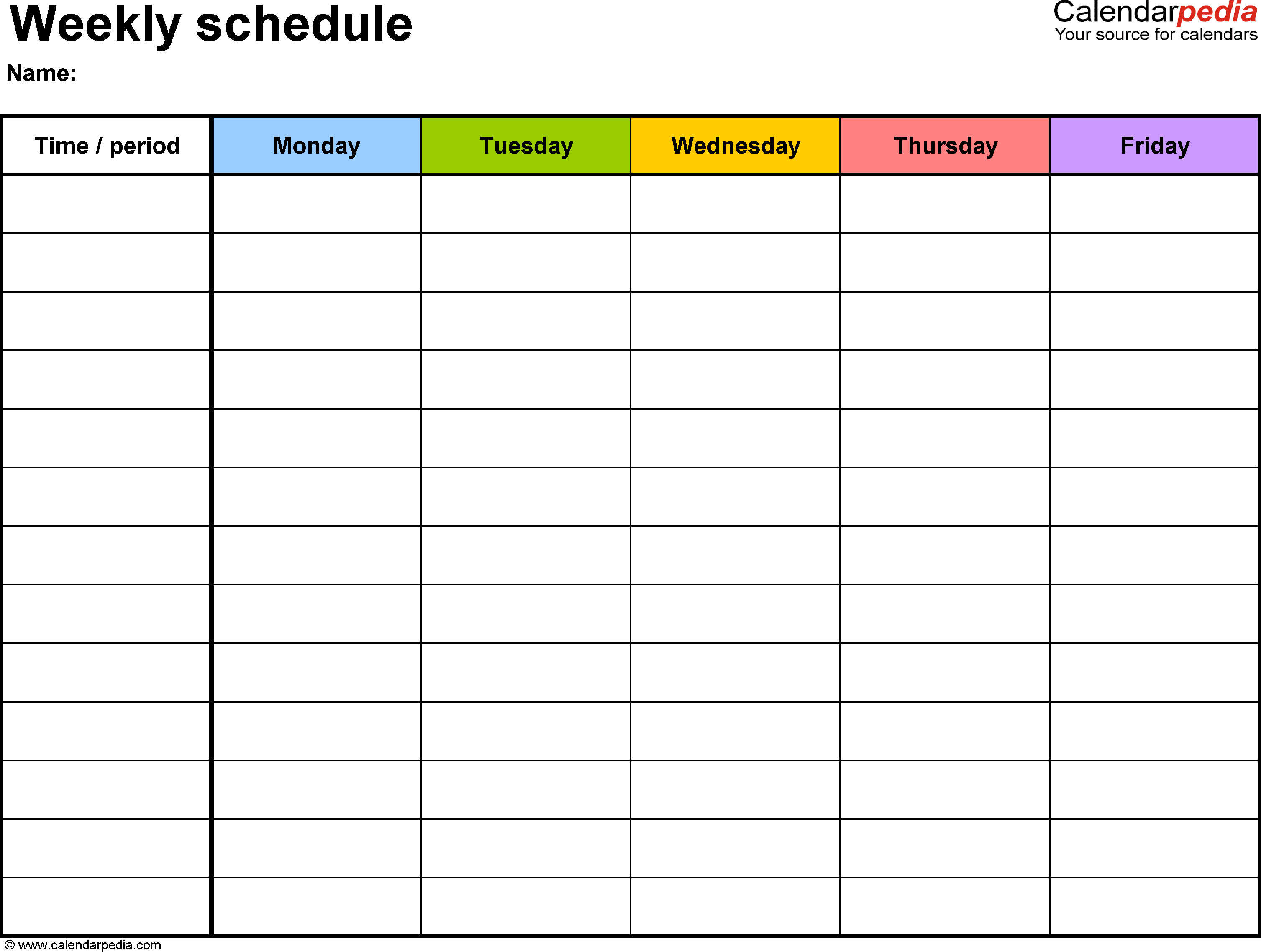 Weekly Schedule Template For Pdf Version 1: Landscape, 1