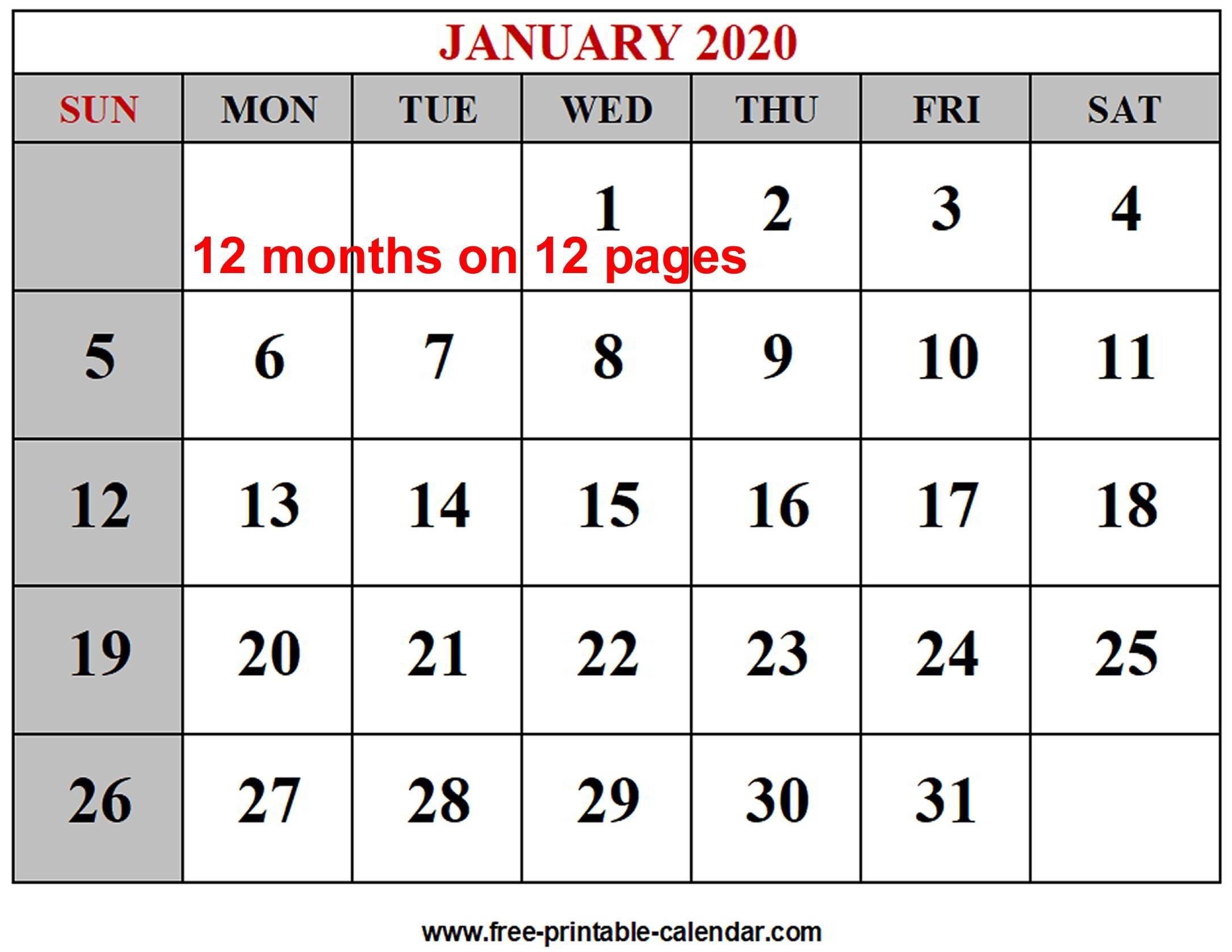 Year 2020 Calendar Templates – Free-Printable-Calendar-12