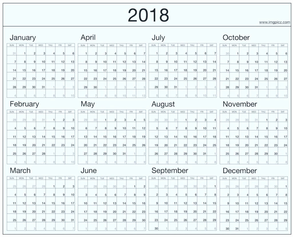Year At A Glance Calendar 2018 At A Glance 3 Month Vertical