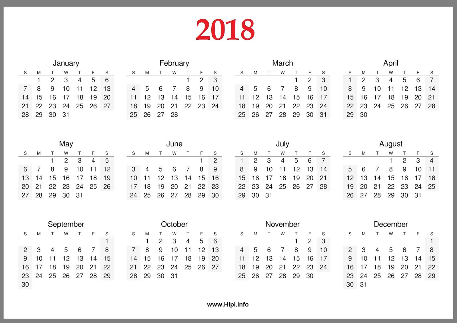 Year At A Glance Calendar 2018 Yearly Calendar At A Glance