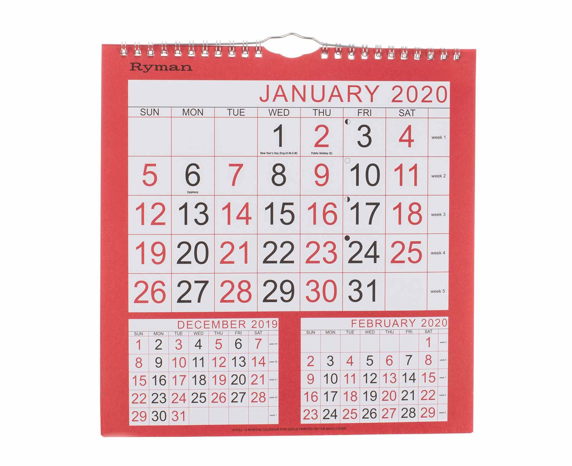 Year Calendars | Wall Calendar | Desk Calendar | Ryman® Uk