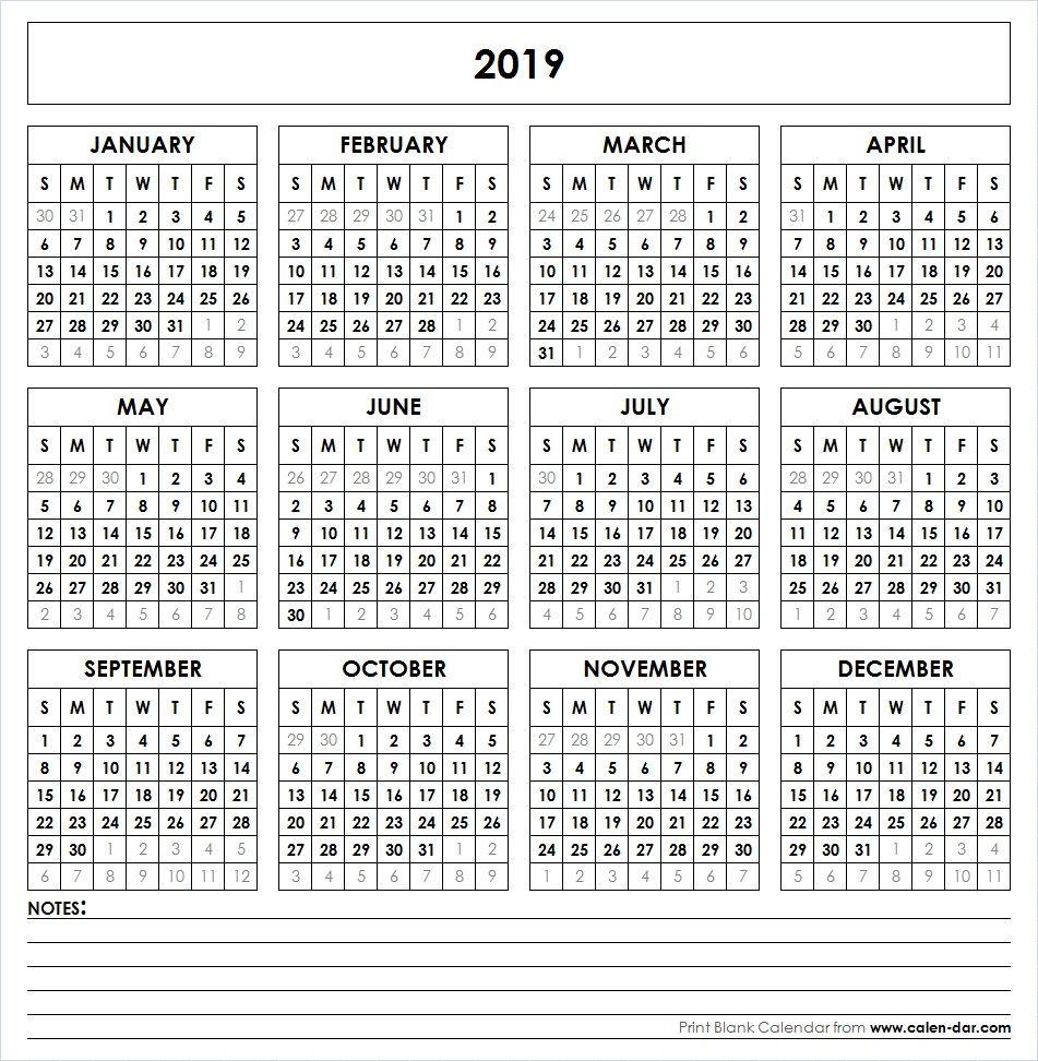Yearly 2019 Calendar Printable
