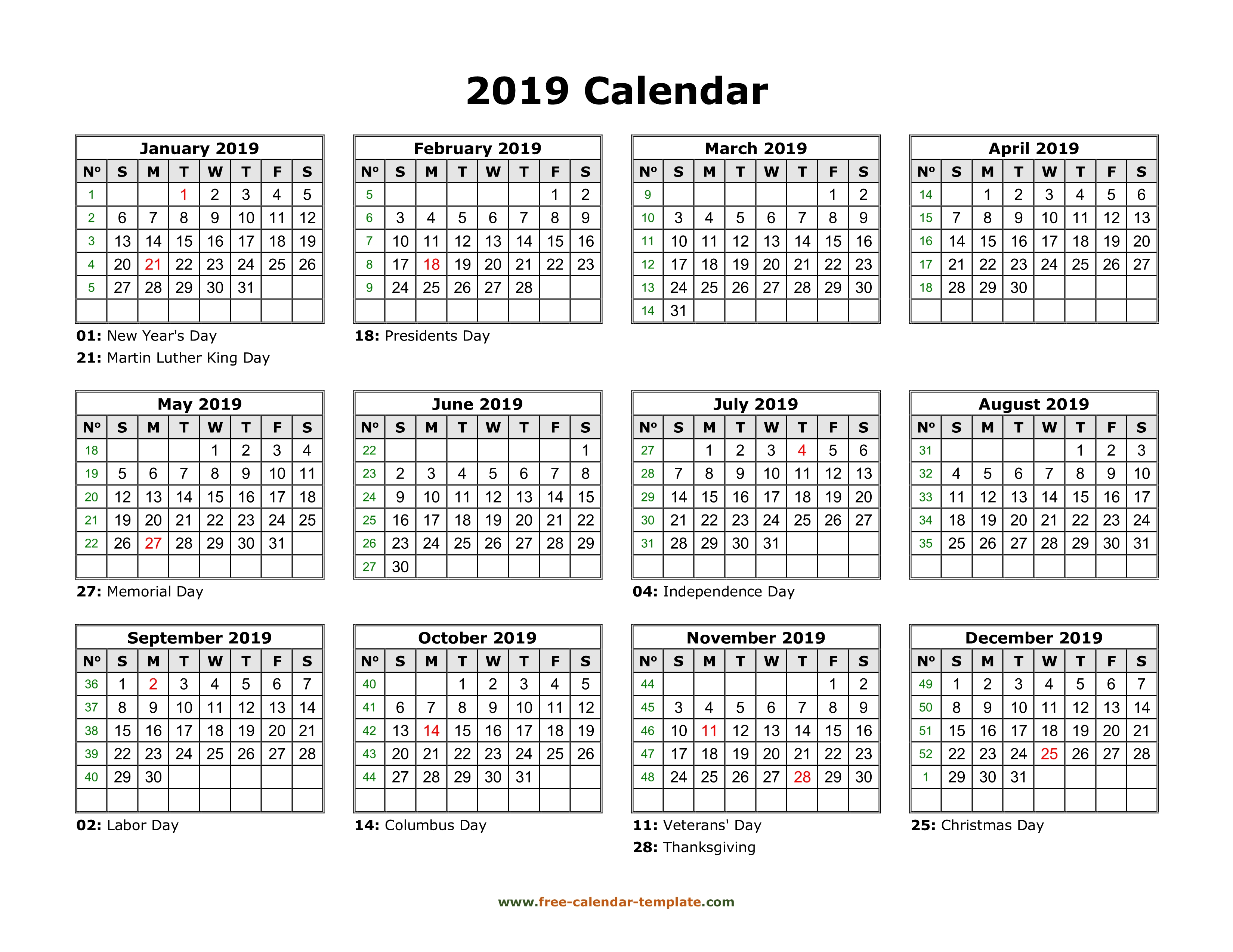 Yearly Calendar 2019 Printable With Federal Holidays | Free