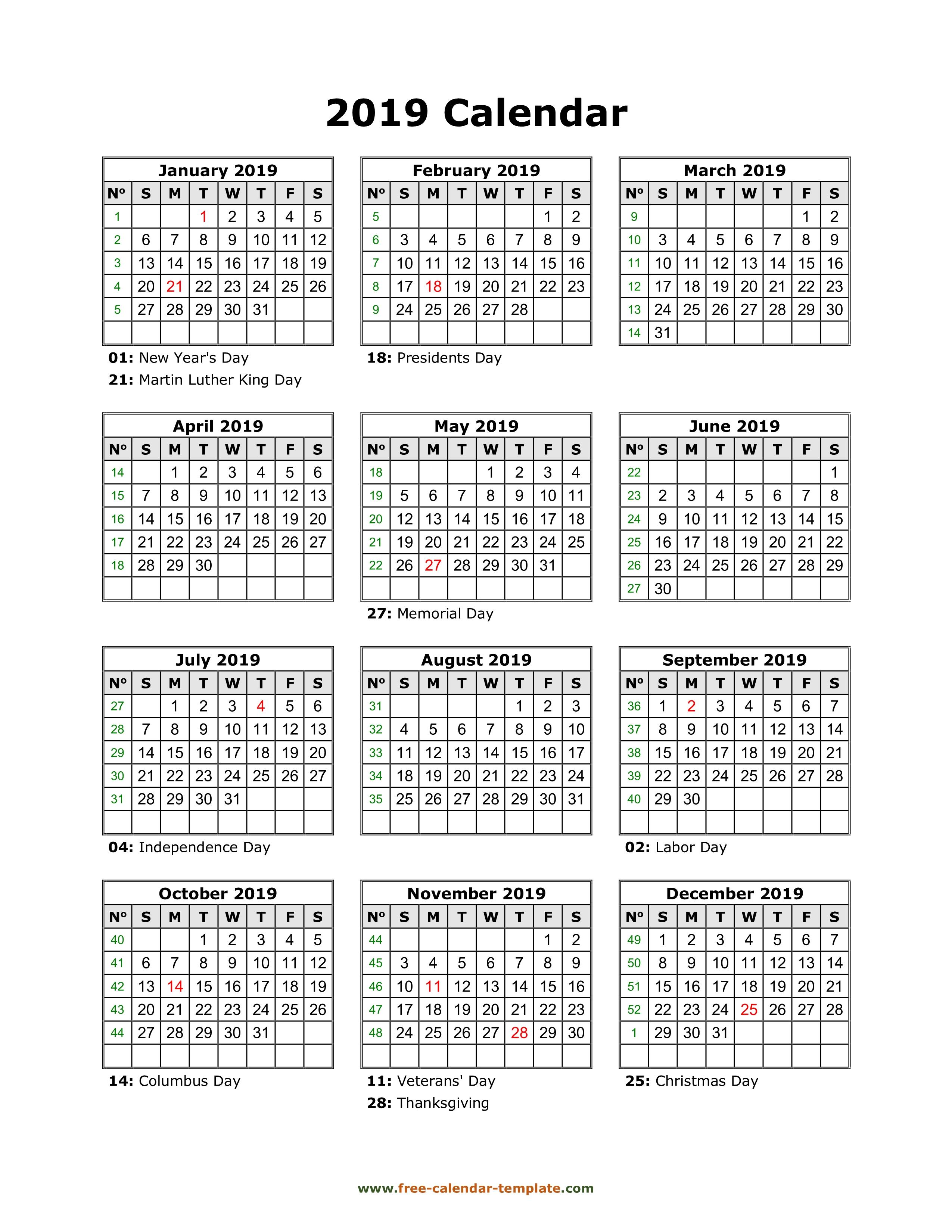 Yearly Printable Calendar 2019 With Holidays | Free-Calendar