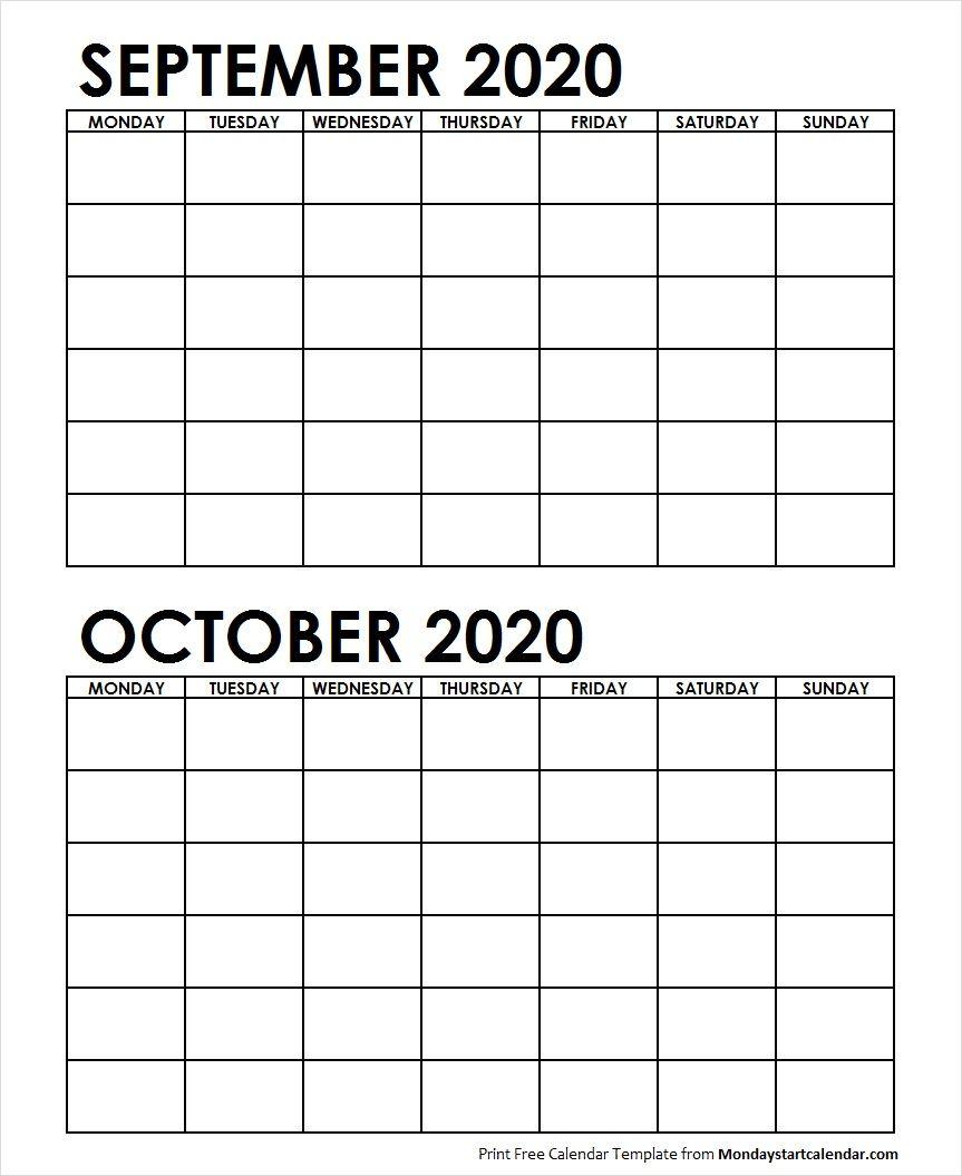 2 Monthly Blank Calendar September October 2020 | June