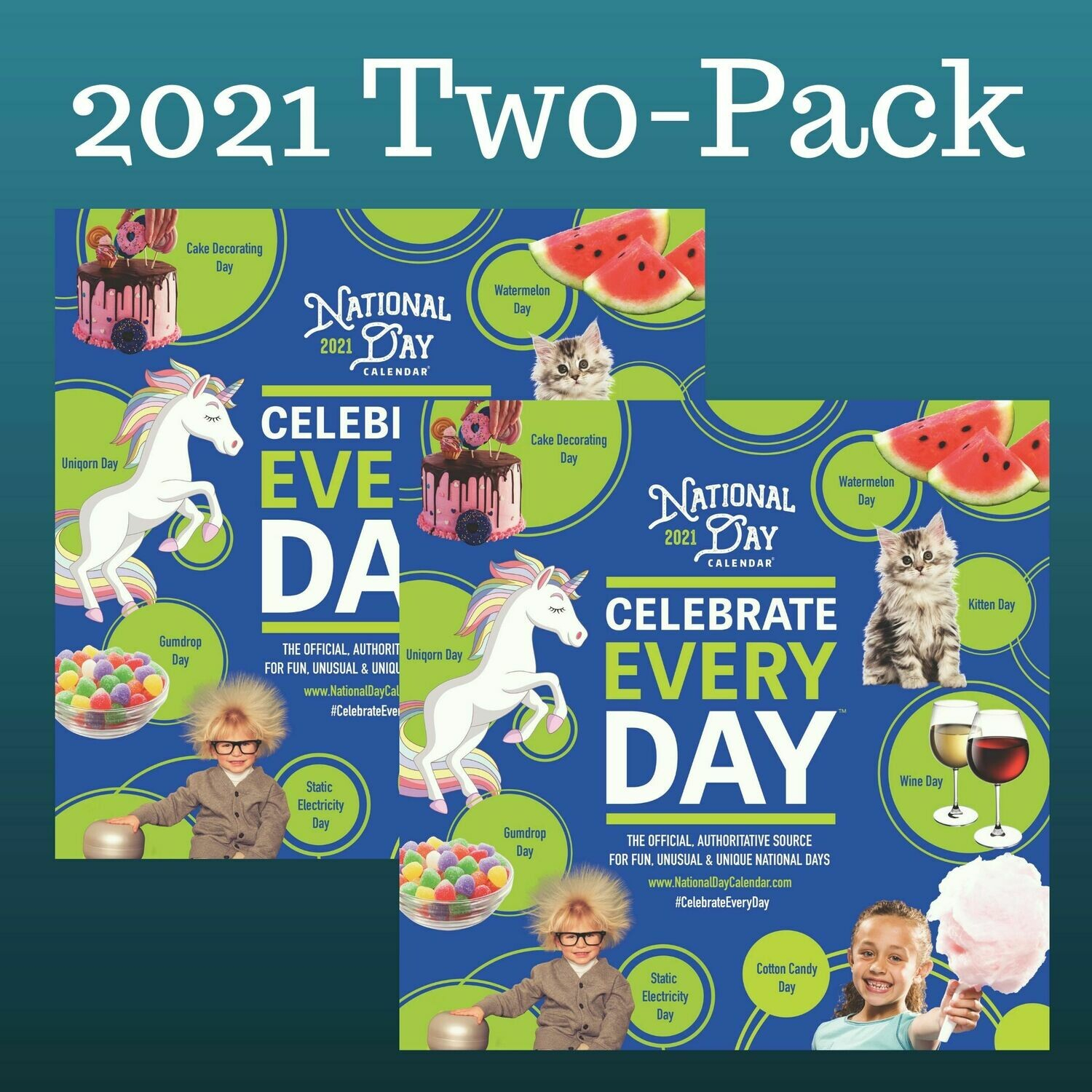 2 Pack | 2021 Official Celebrate Every Day® National Day Wall Calendar