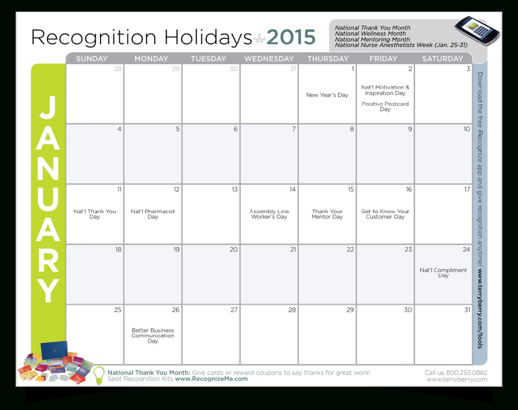 2015 Employee Recognition Calendar. Download 12 Months Of