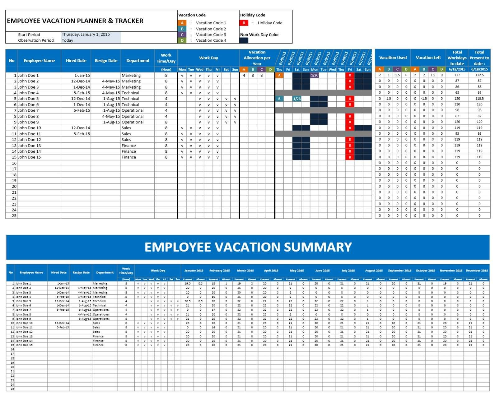 2016 Emploee Vacation Time Off Calendar Excel | Excel
