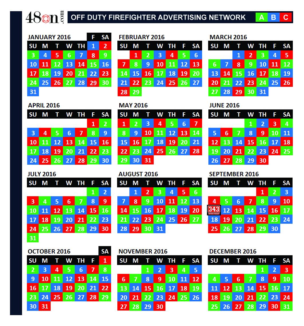 2016 Firefighter Shift Calendar – 48On Advertising – 48On