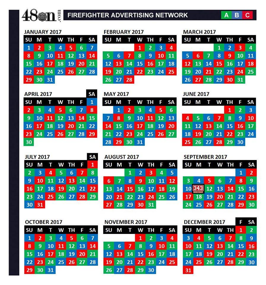 2017 Firefighter Shift Calendar – 48On – Potraza