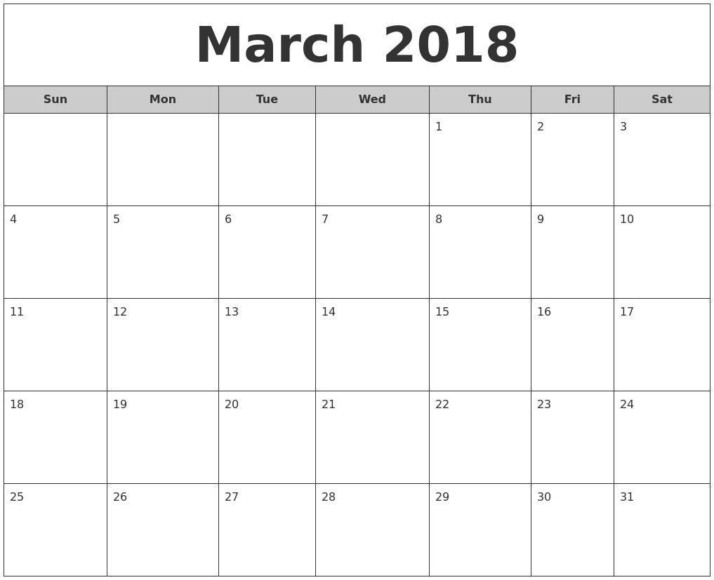 2018 Calendar Templates | Word, Excel & Pdf Templates | Free