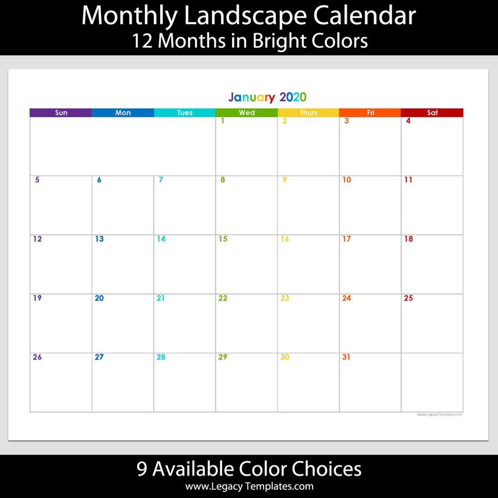 """2020 - 12 Month Landscape Calendar - 8 1/2"""" X 11""""   Legacy"""