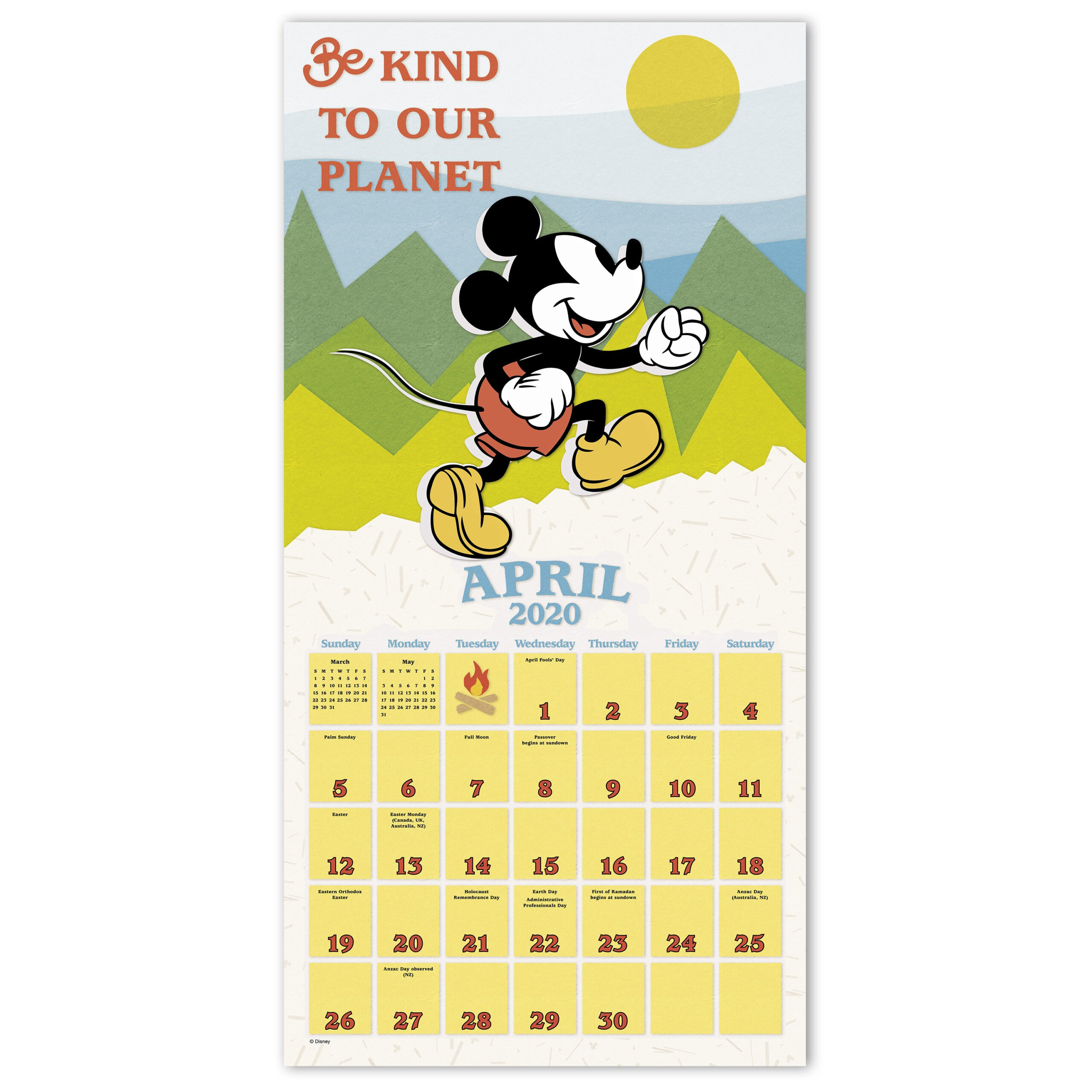 """2020 Disney Mickey Mouse 12"""" X 12"""" Monthly Wall Calendar"""