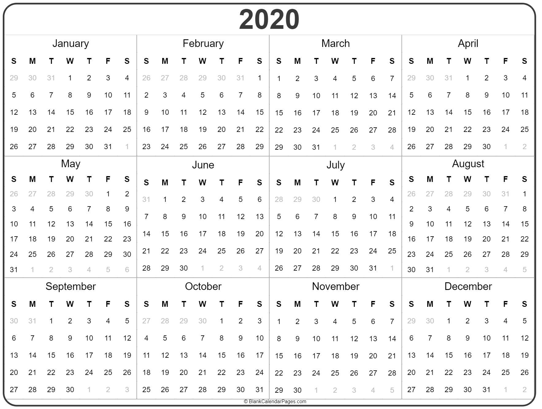 2020 Year Calendar | Yearly Printable