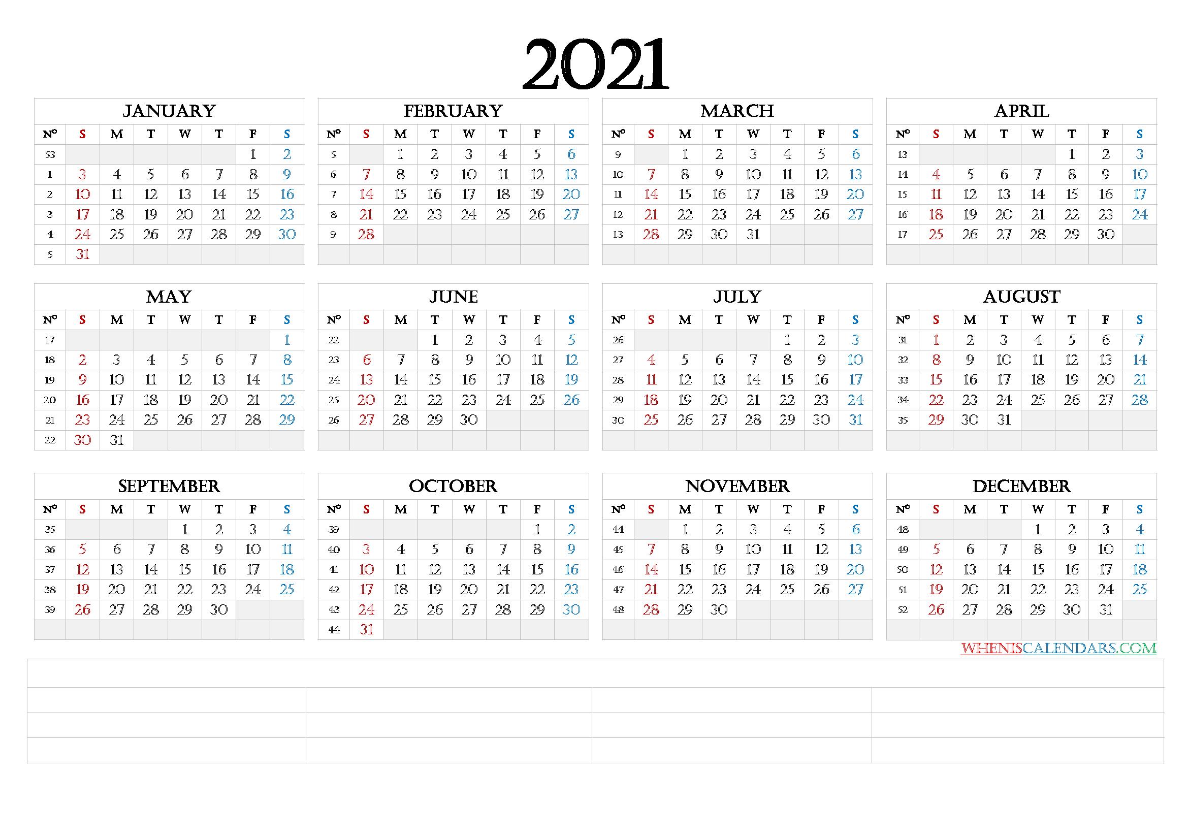 2021 12 Month Calendar Printable [Premium Templates]