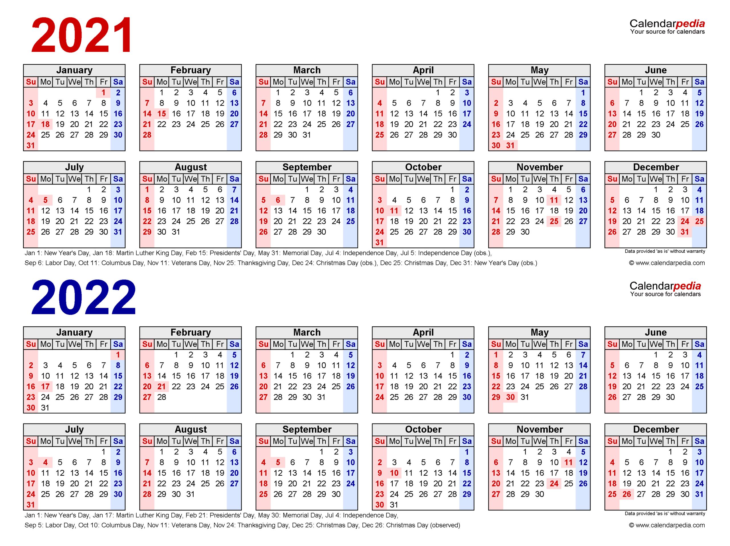 2021-2022 Two Year Calendar - Free Printable Pdf Templates