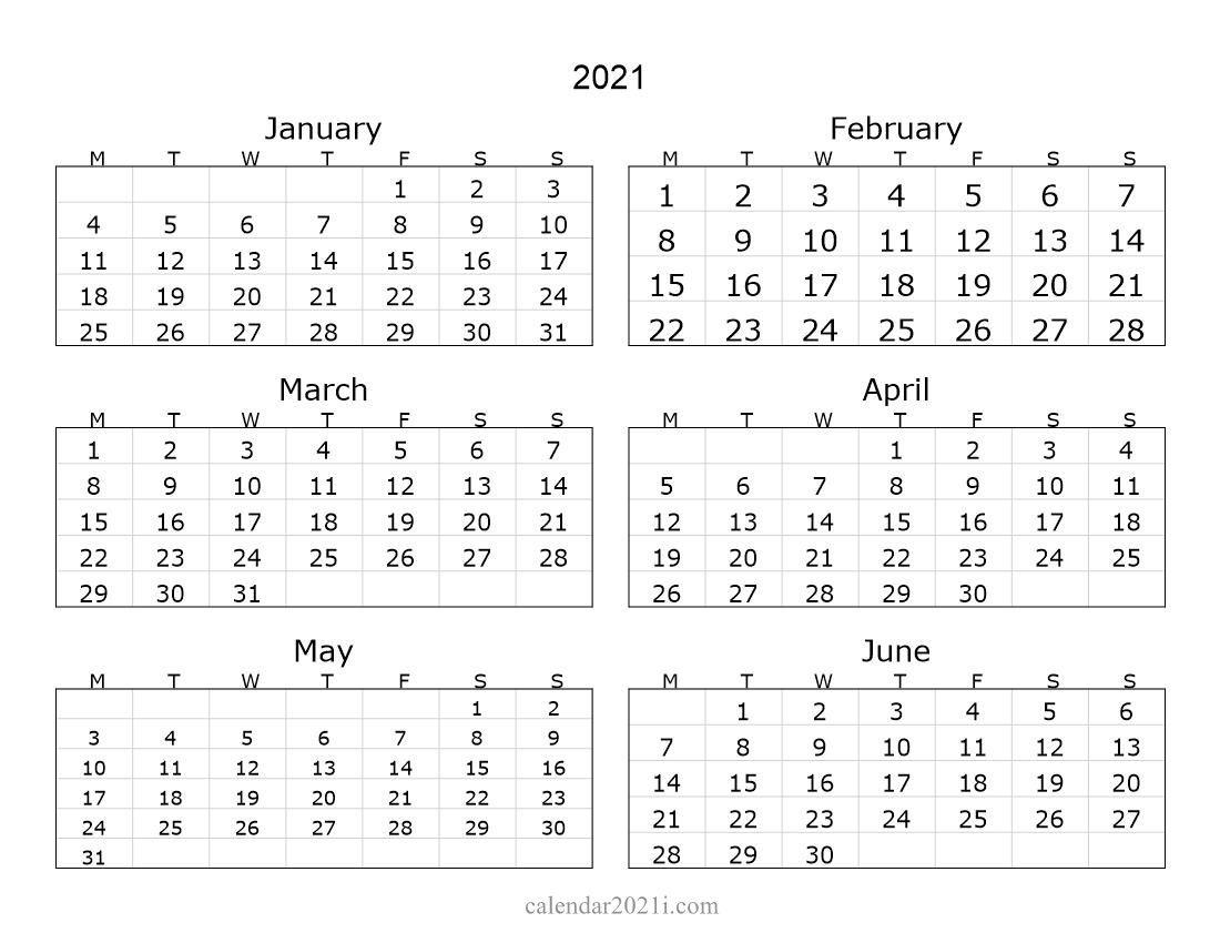 2021 6 Months Landscape Calendar | Printable Calendar