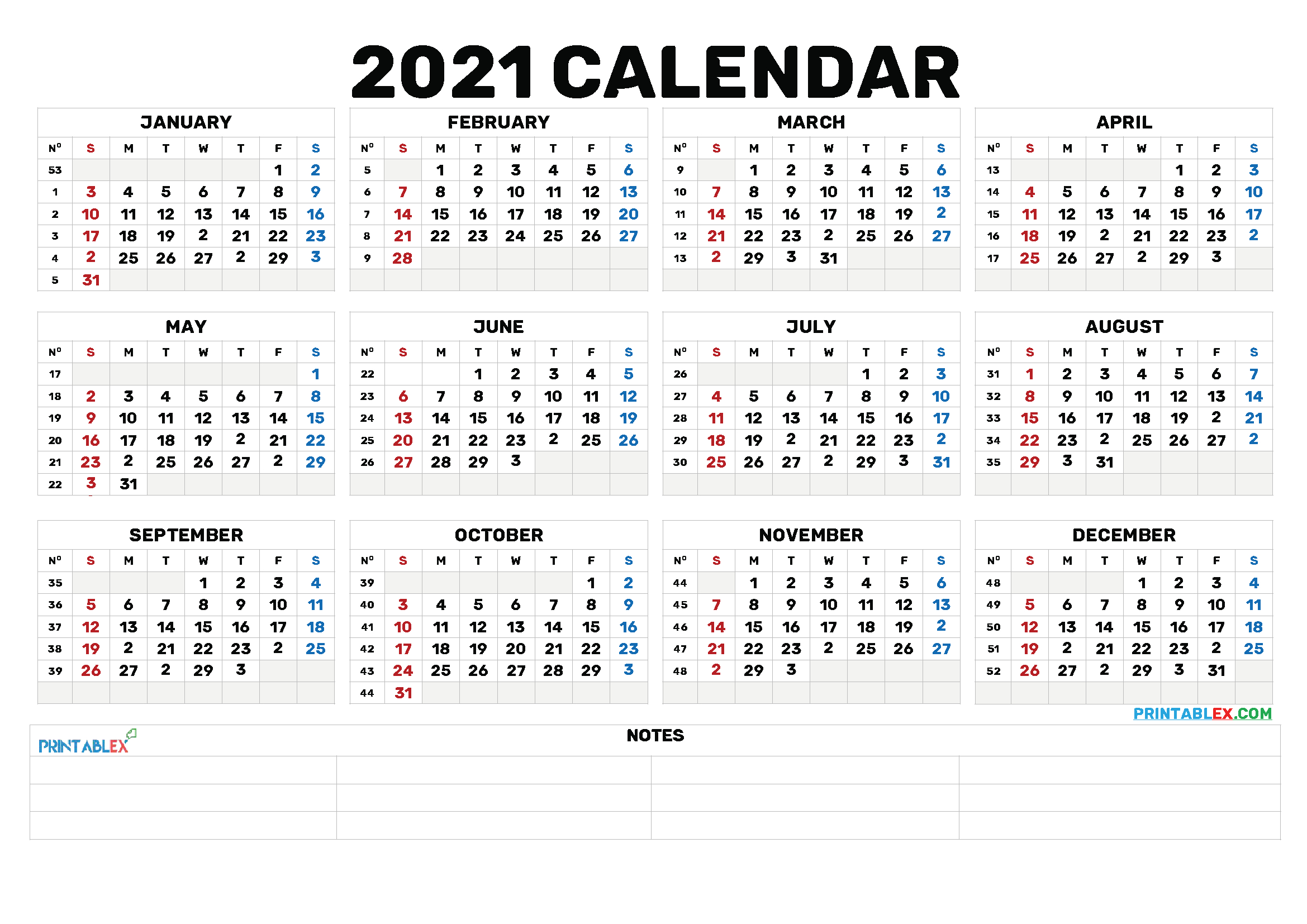 2021 Annual Calendar Printable – 21Ytw173 | Yearly Calendar
