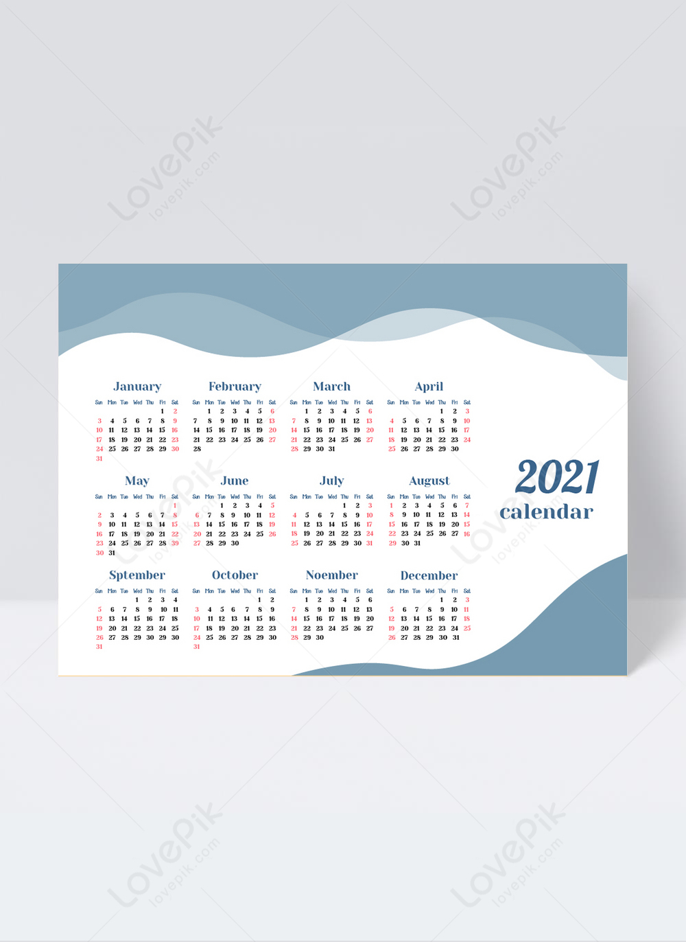 2021 Blue Stylish Business Calendar Template Image_Picture