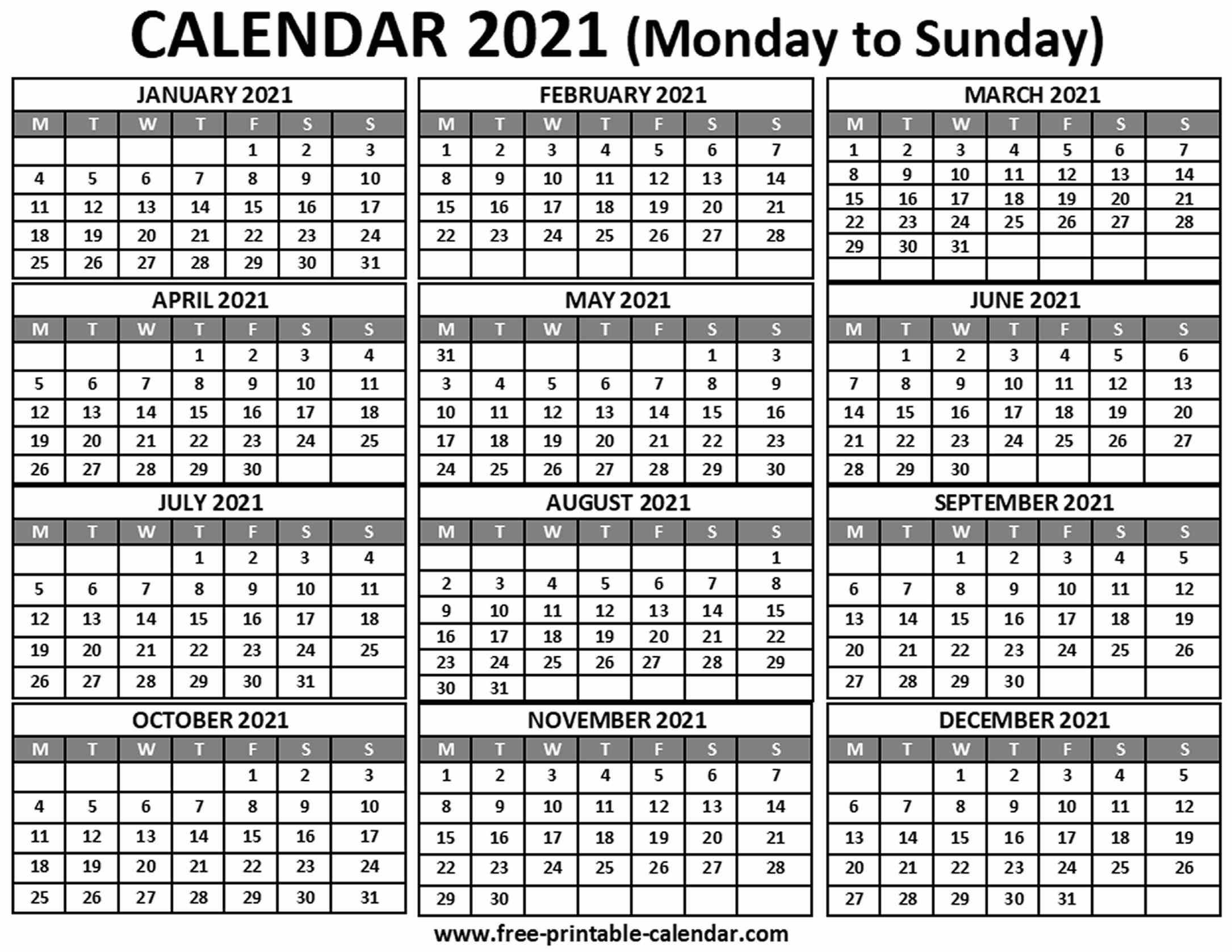2021 Calendar - Free-Printable-Calendar