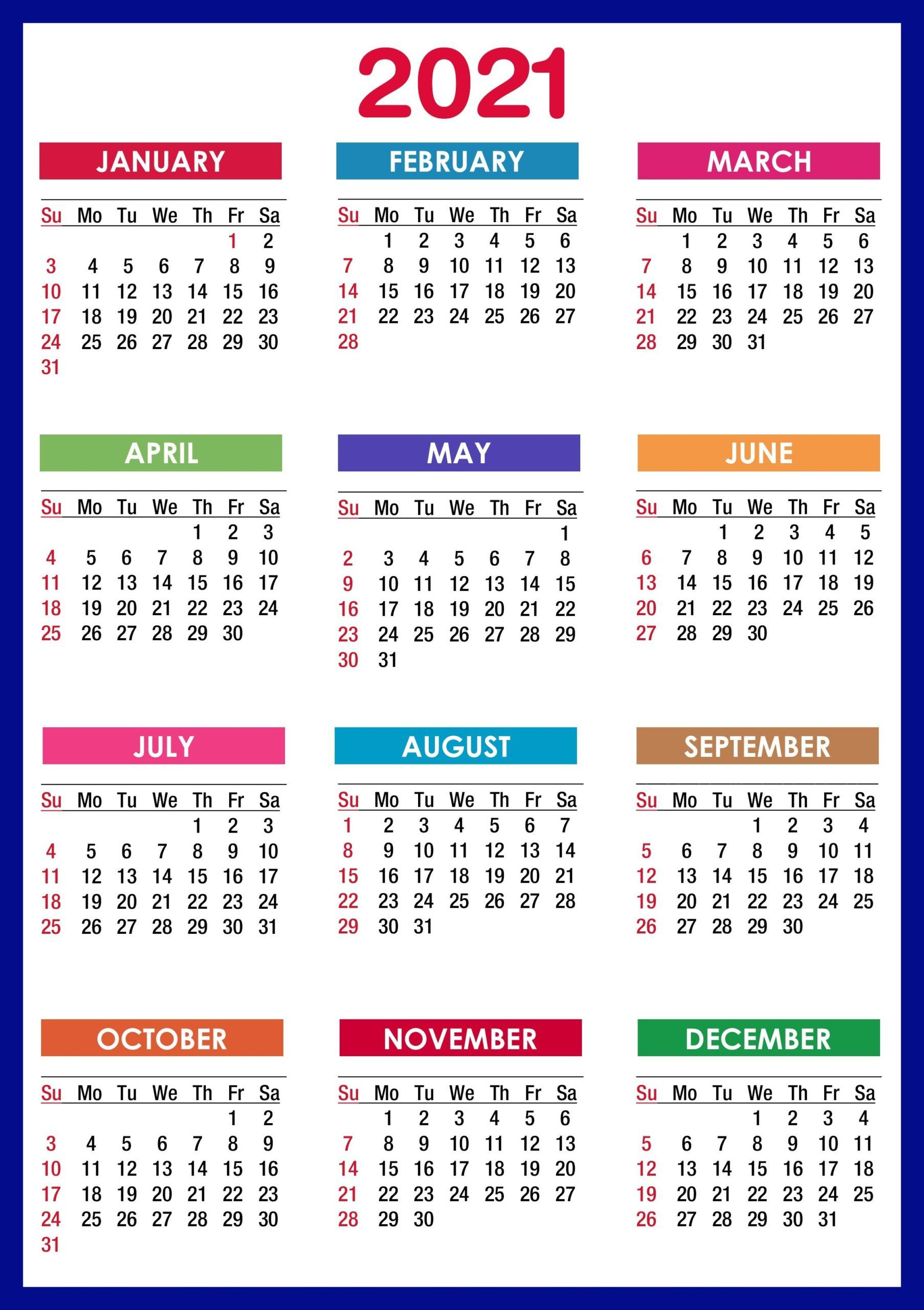 2021 Calendar Printable | 12 Months All In One | Calendar