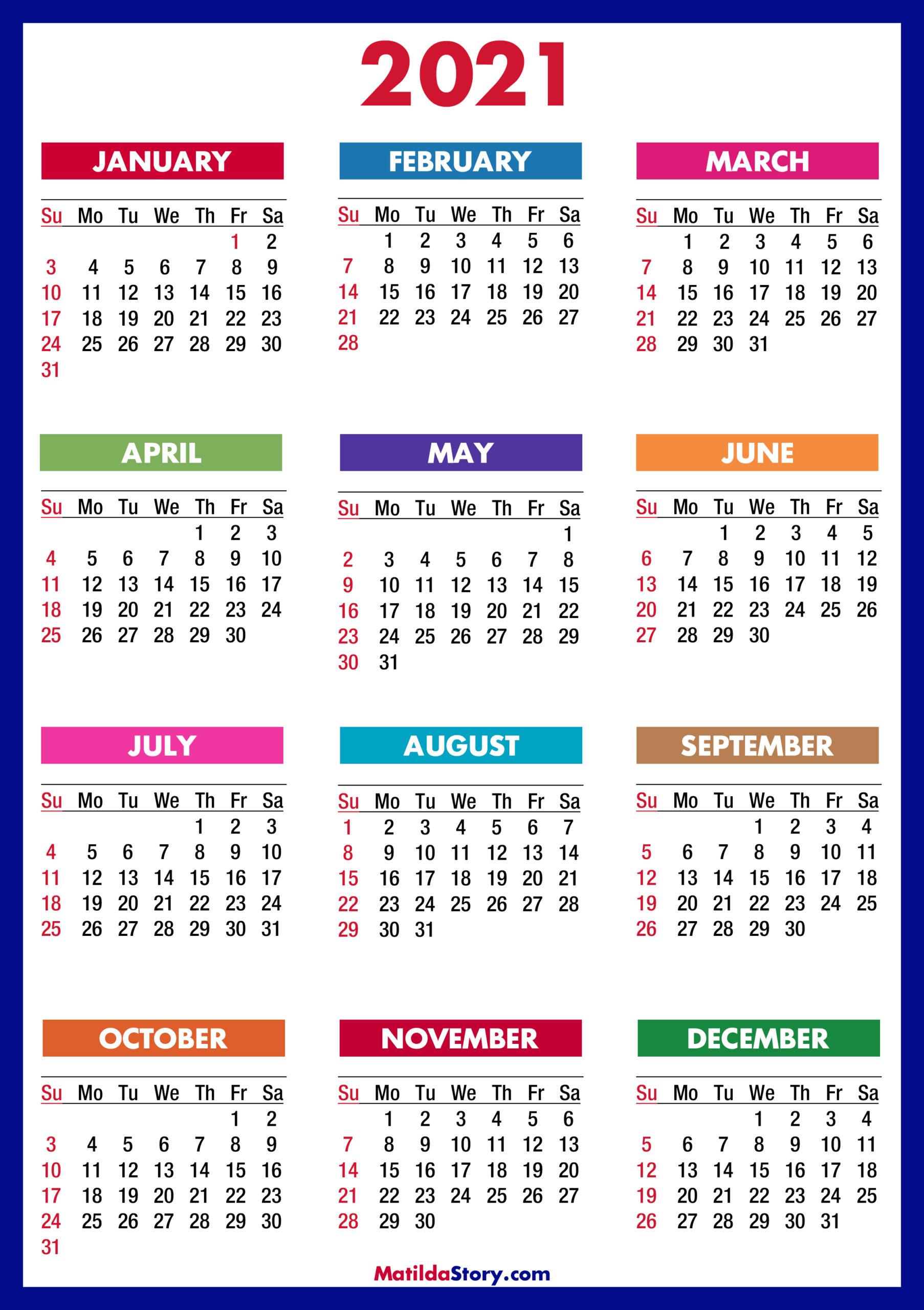 2021 Calendar Printable Free, Colorful, Blue, Green – Sunday