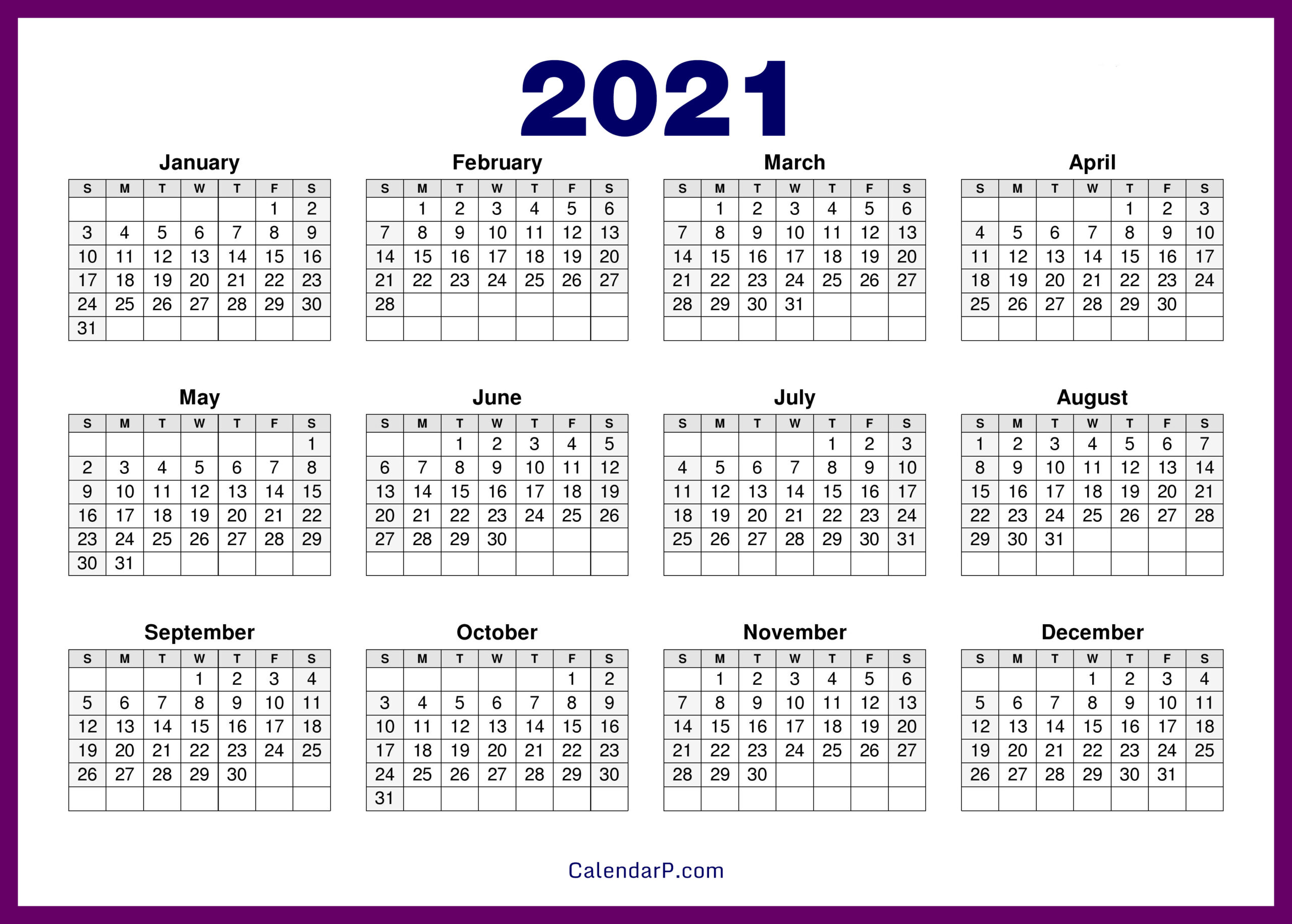 2021 Calendar Printable Free, Hd – Purple – Calendarp