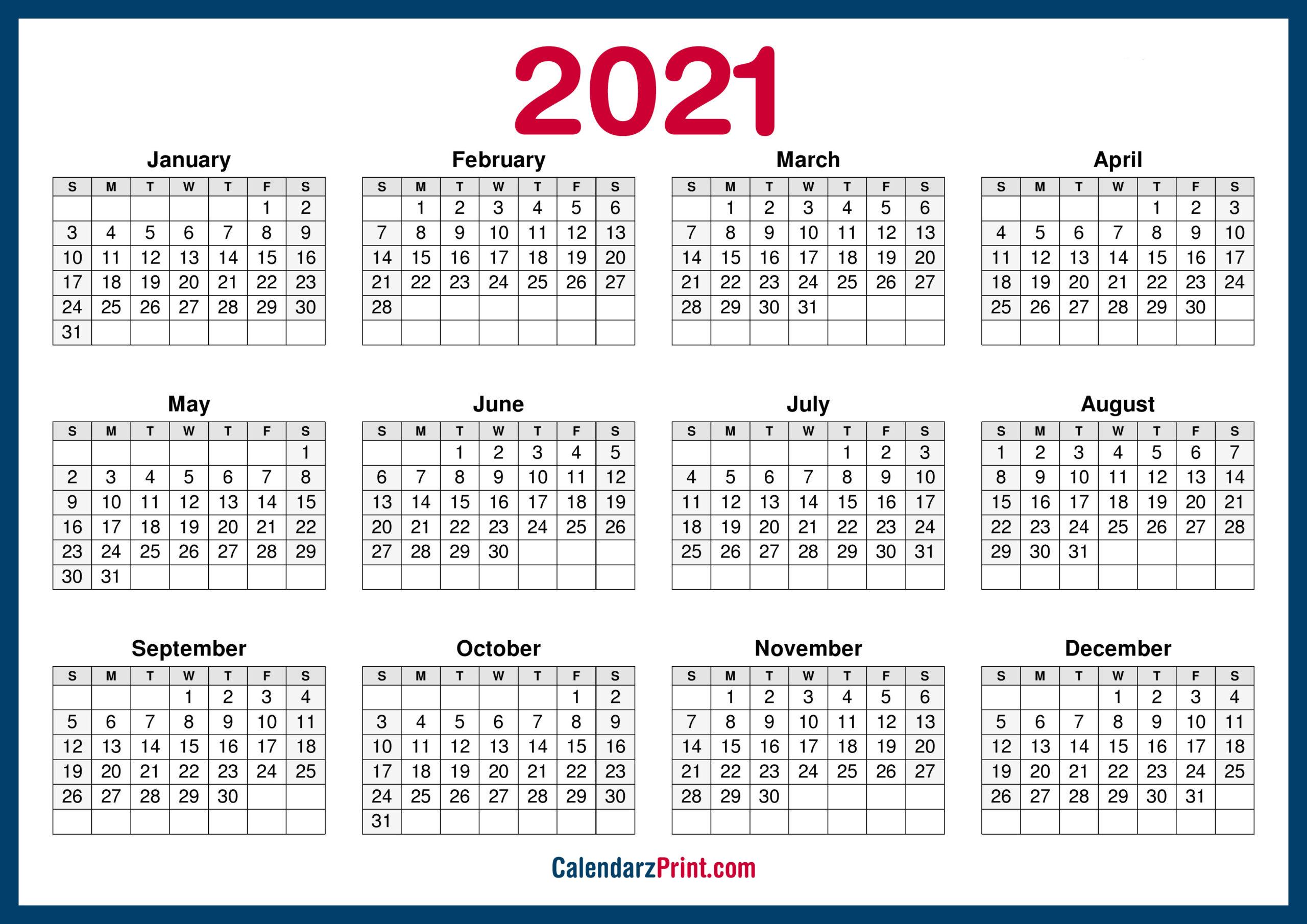 2021 Calendar Printable Free, Horizontal, Hd, Navy Blue