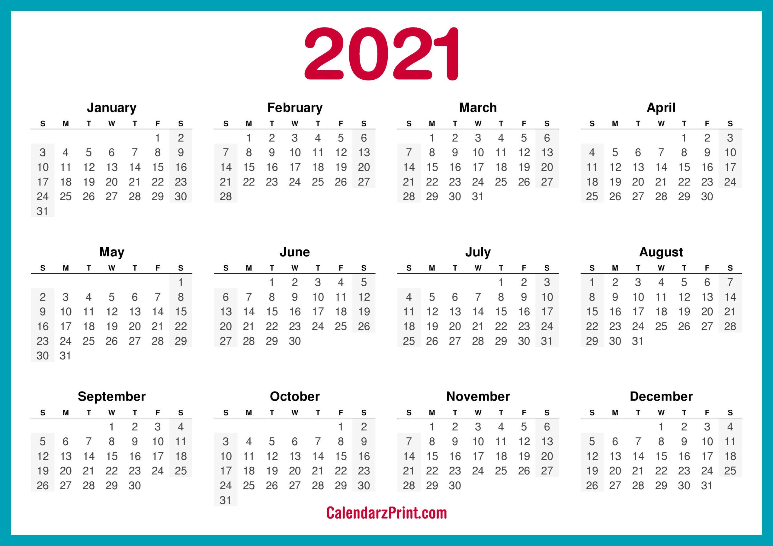 2021 Calendar Printable Free, Horizontal, Hd, Turquoise Blue