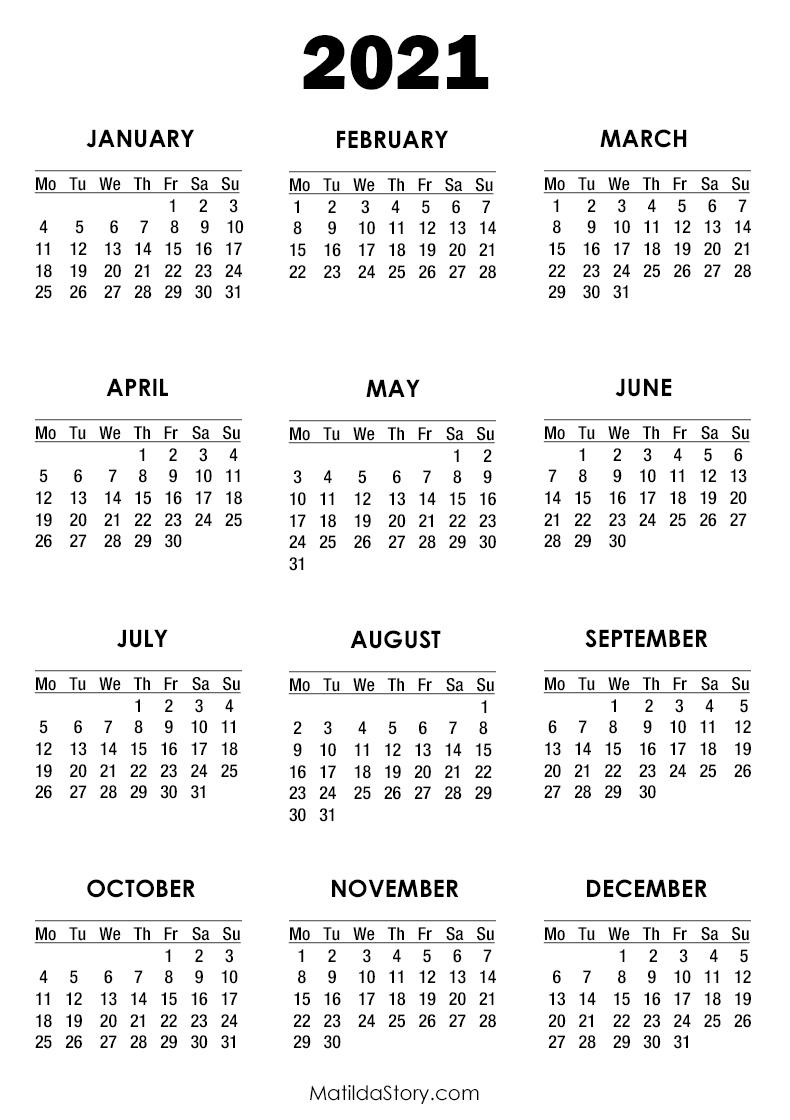 2021 Calendar Printable Free, White – Monday Start
