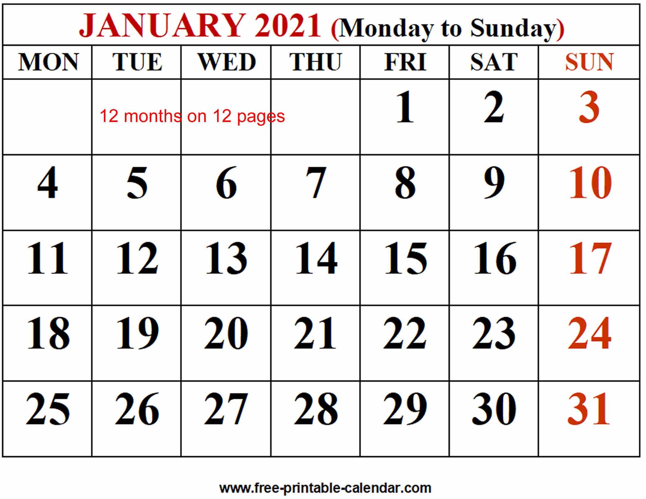 2021 Calendar Template - Free-Printable-Calendar
