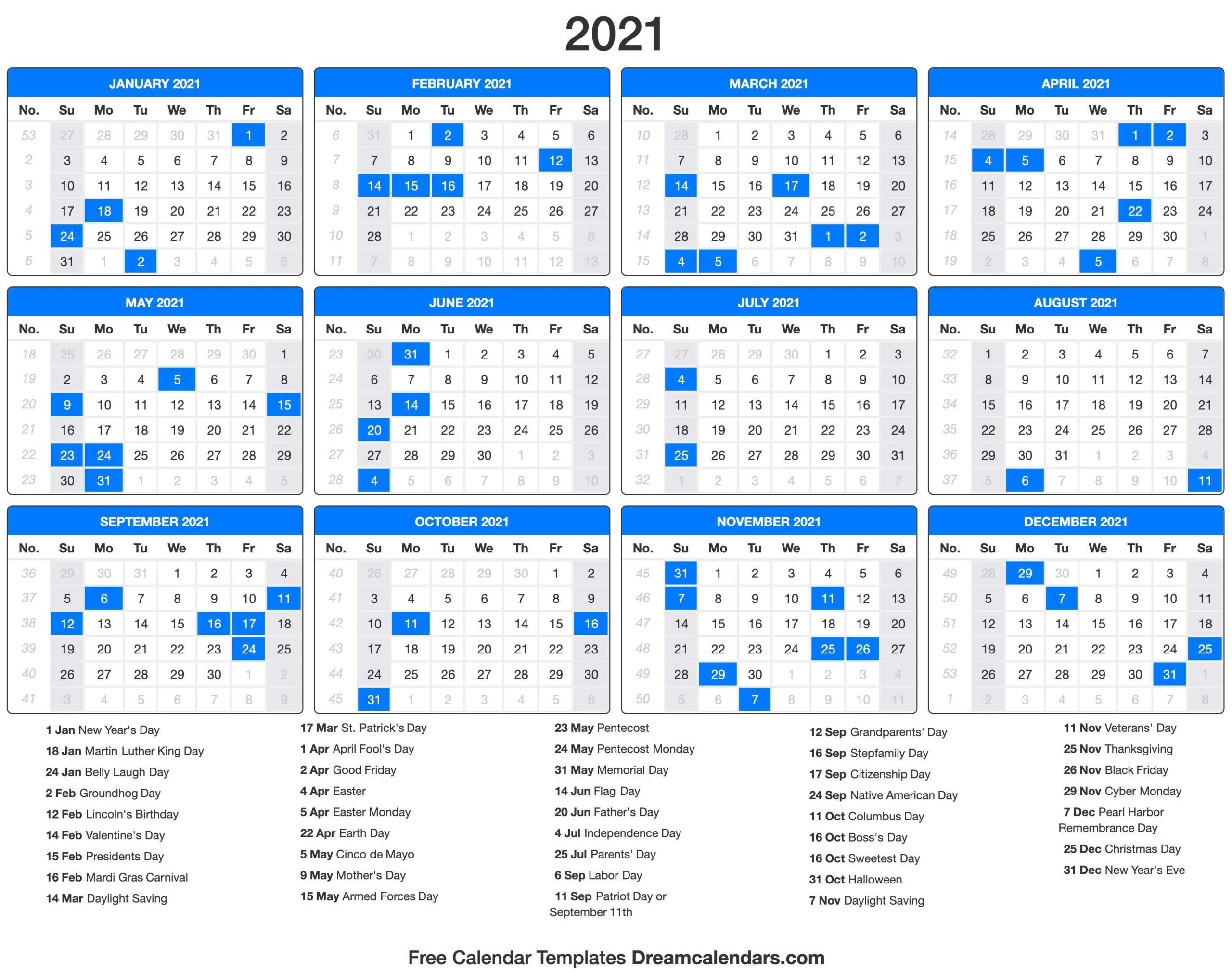 2021 Calendar With Holidays - Dream Calendars | Holiday
