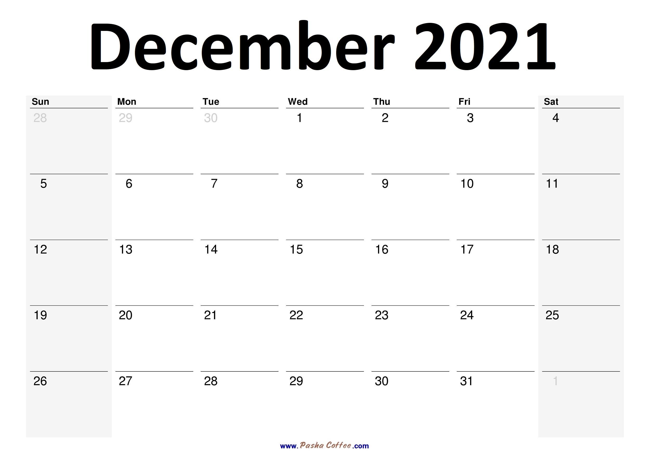 2021 December Calendar Planner Printable Monthly |