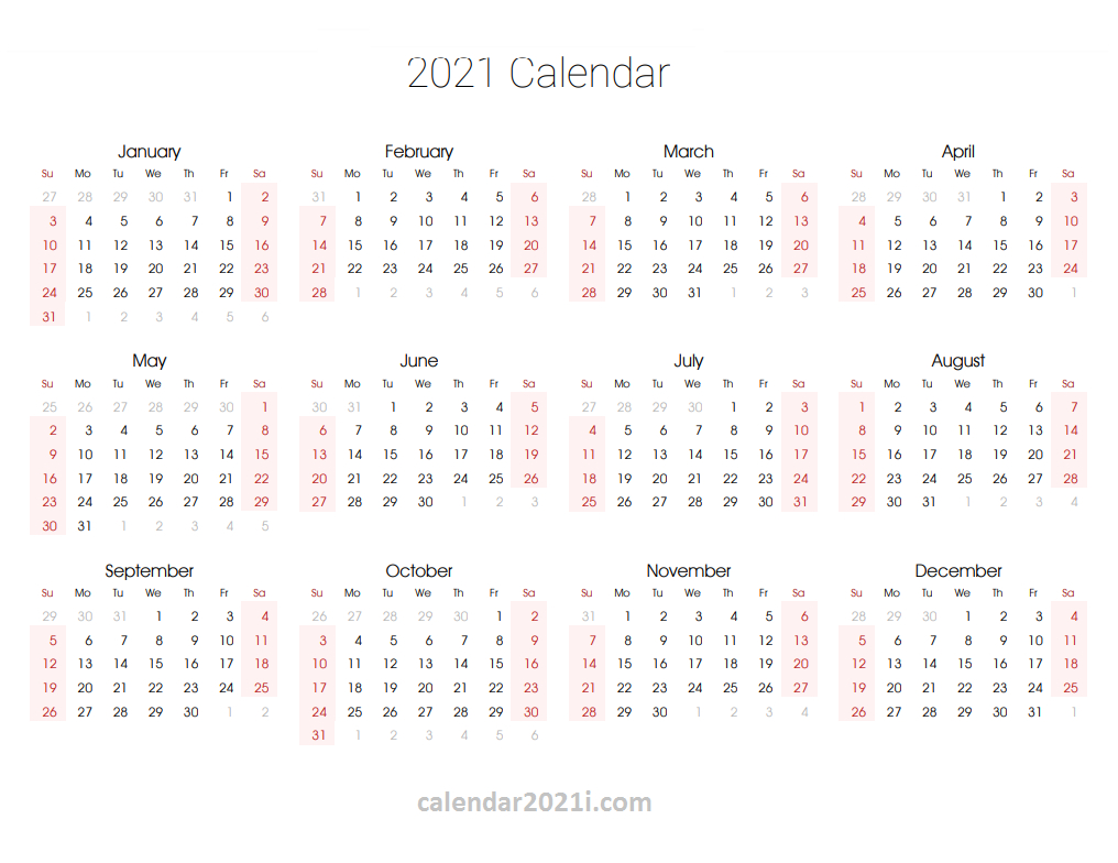 2021 Editable Yearly Calendar Templates In Ms Word, Excel