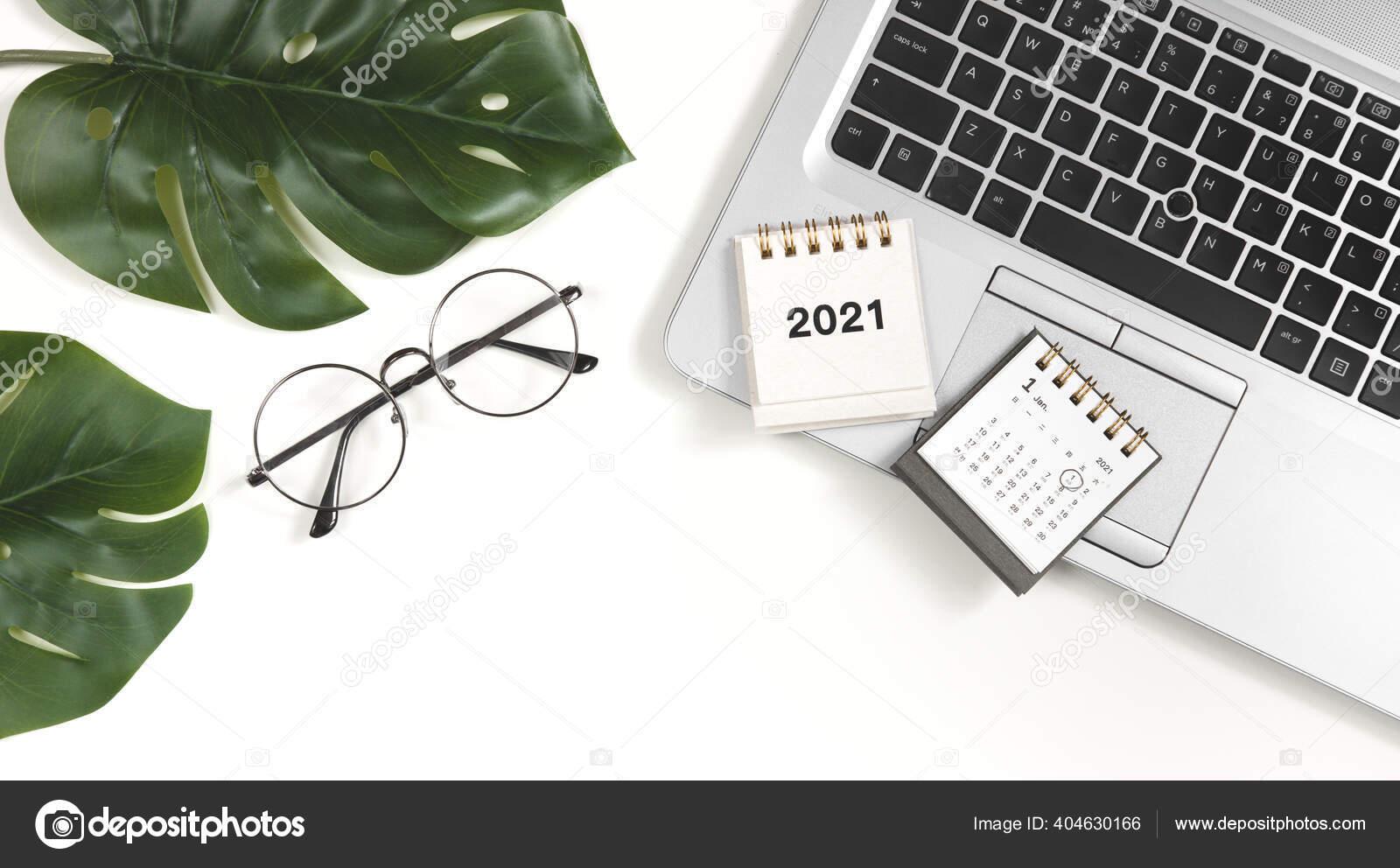 2021 Neujahresziel Plan Aktion Flacher Schreibtisch Mit