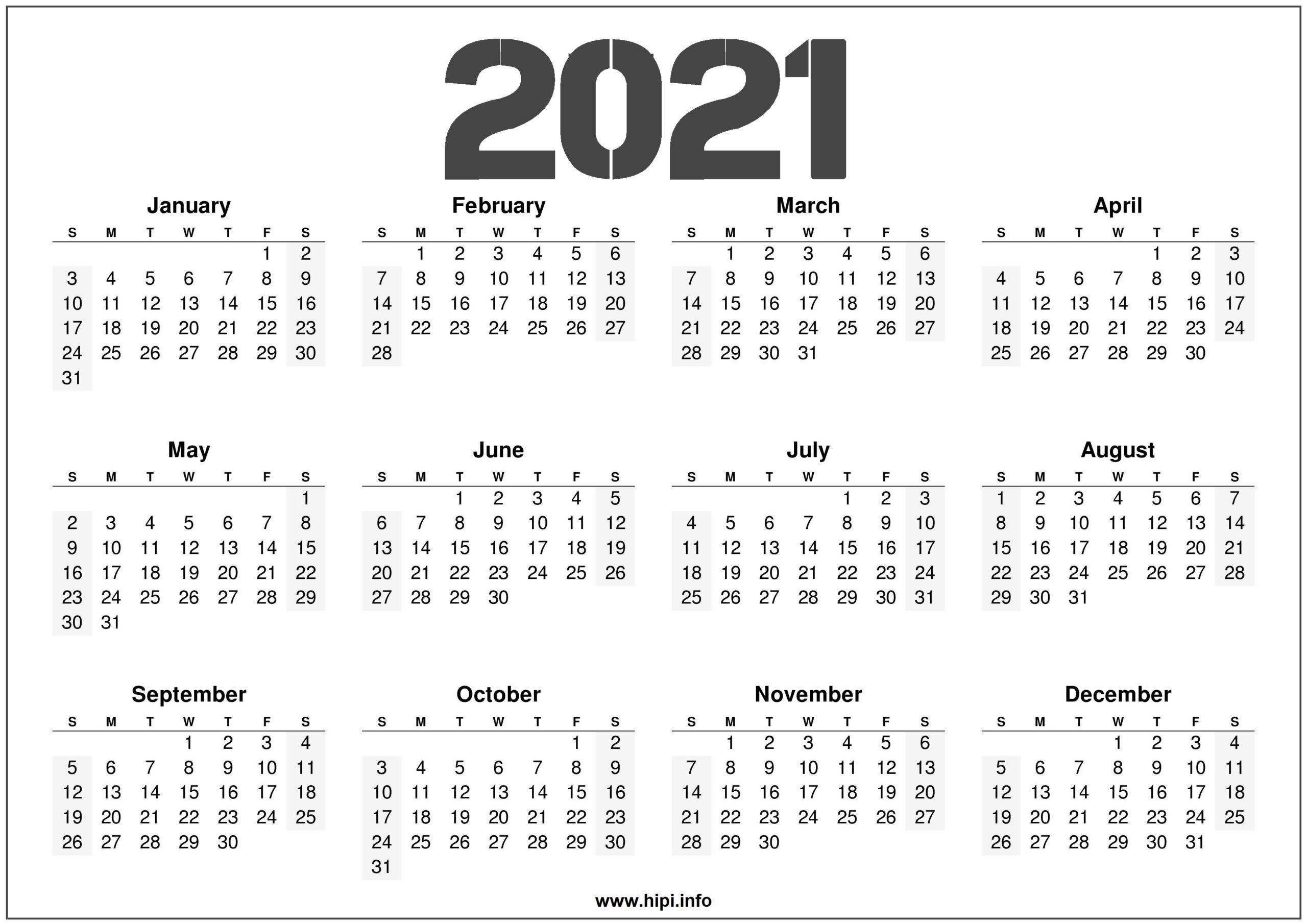 2021 Printable 12 Month Calendar Templates - Hipi