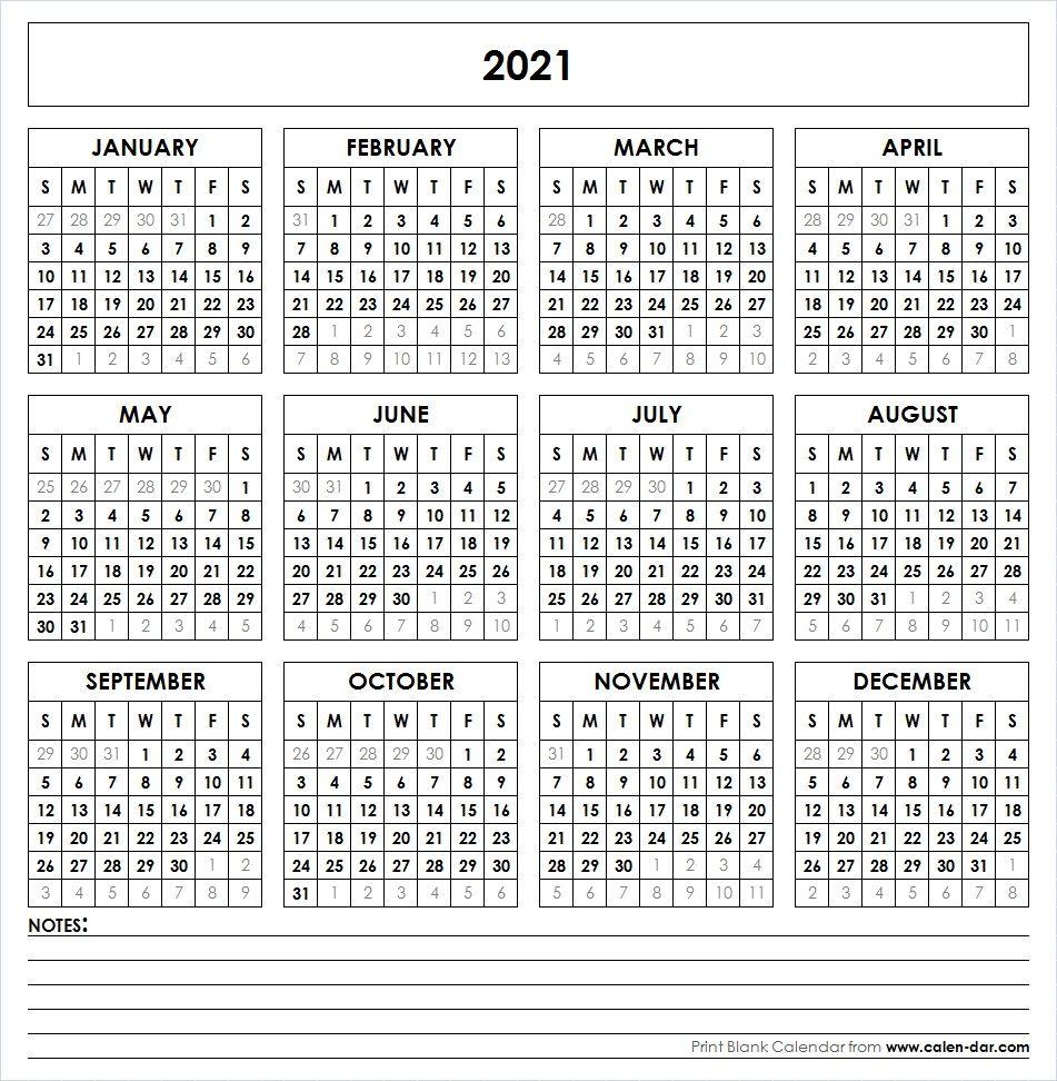 2021 Printable Calendar | Printable Yearly Calendar, Yearly