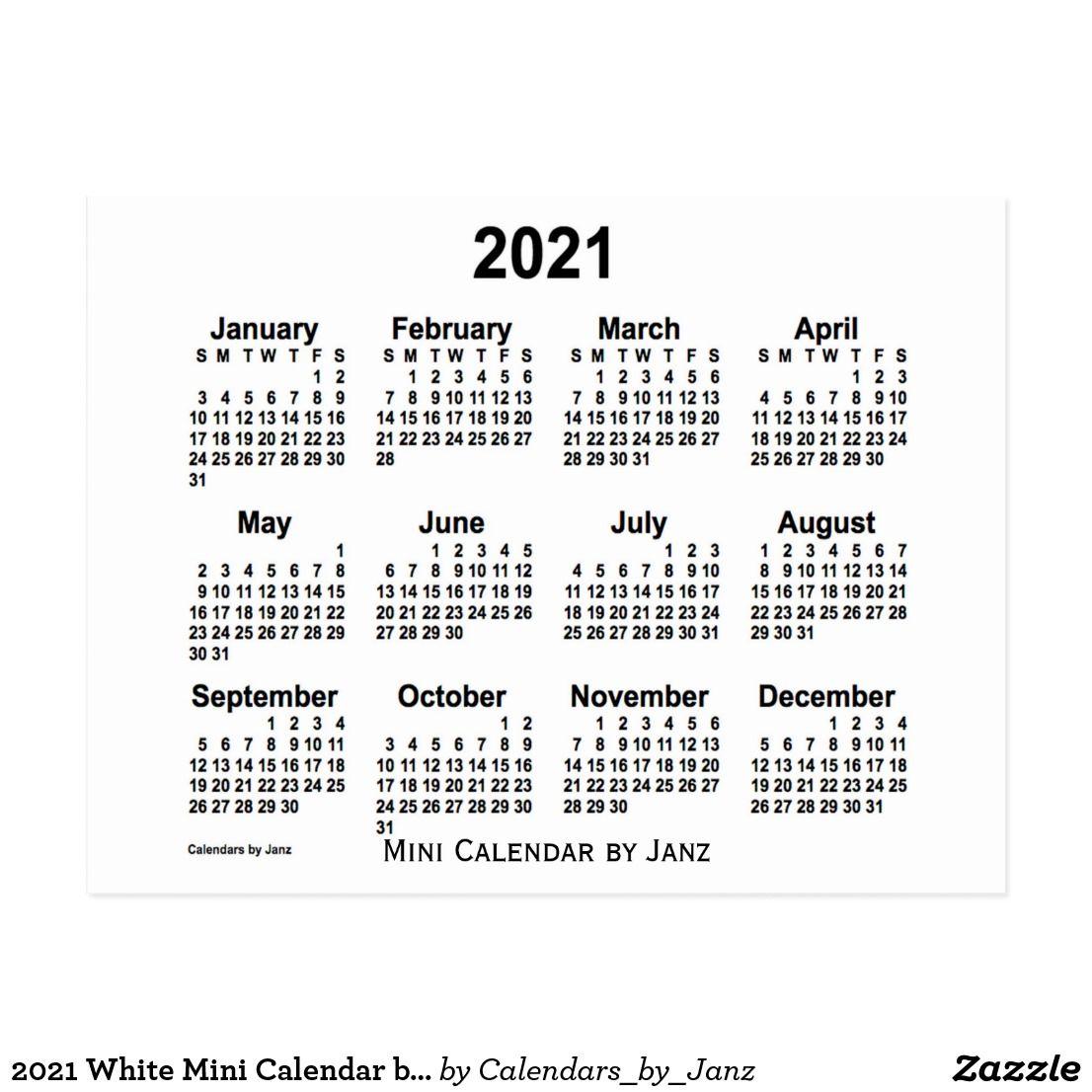 2021 White Mini Calendarjanz Postcard | Mini Calendars