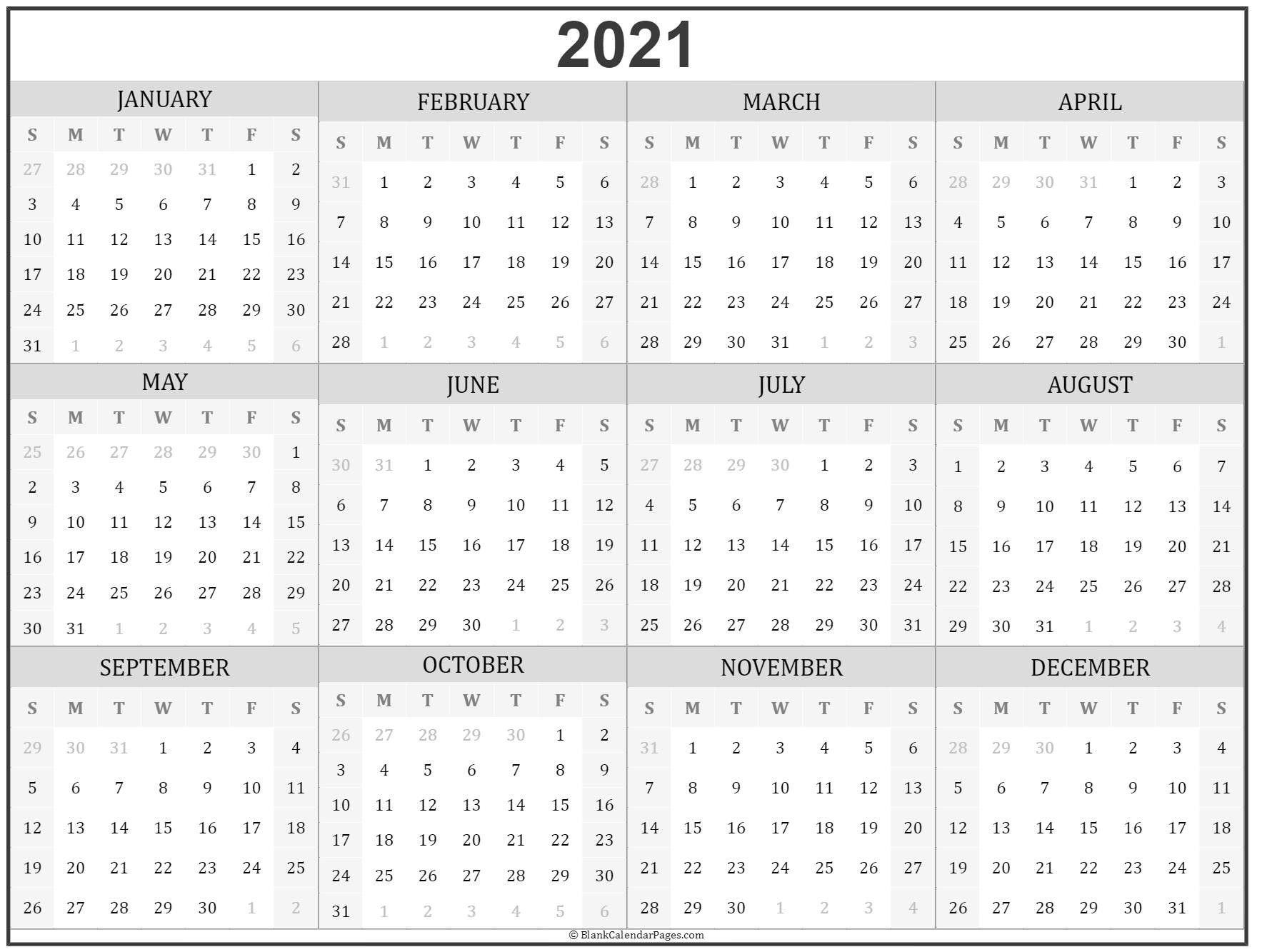 2021 Year Calendar | Yearly Calendar Template, Printable